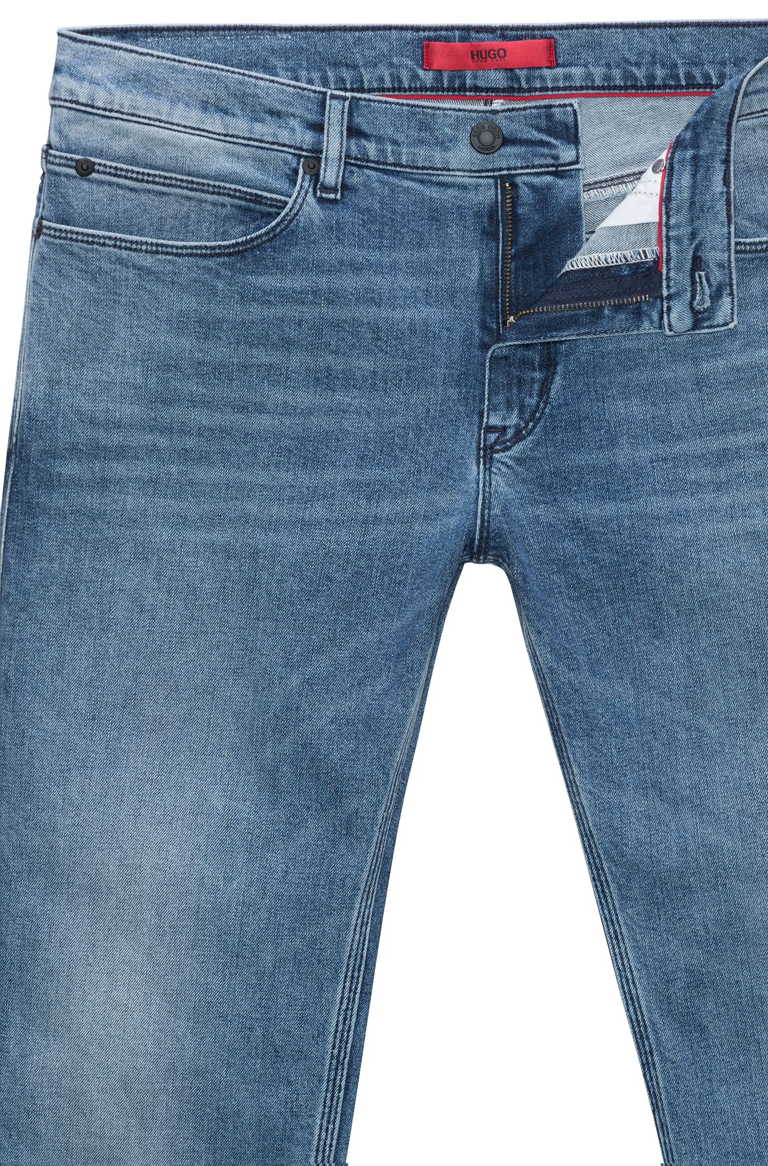 Hugo Boss - Slim-fit jeans in mid-blue stretch denim - 5