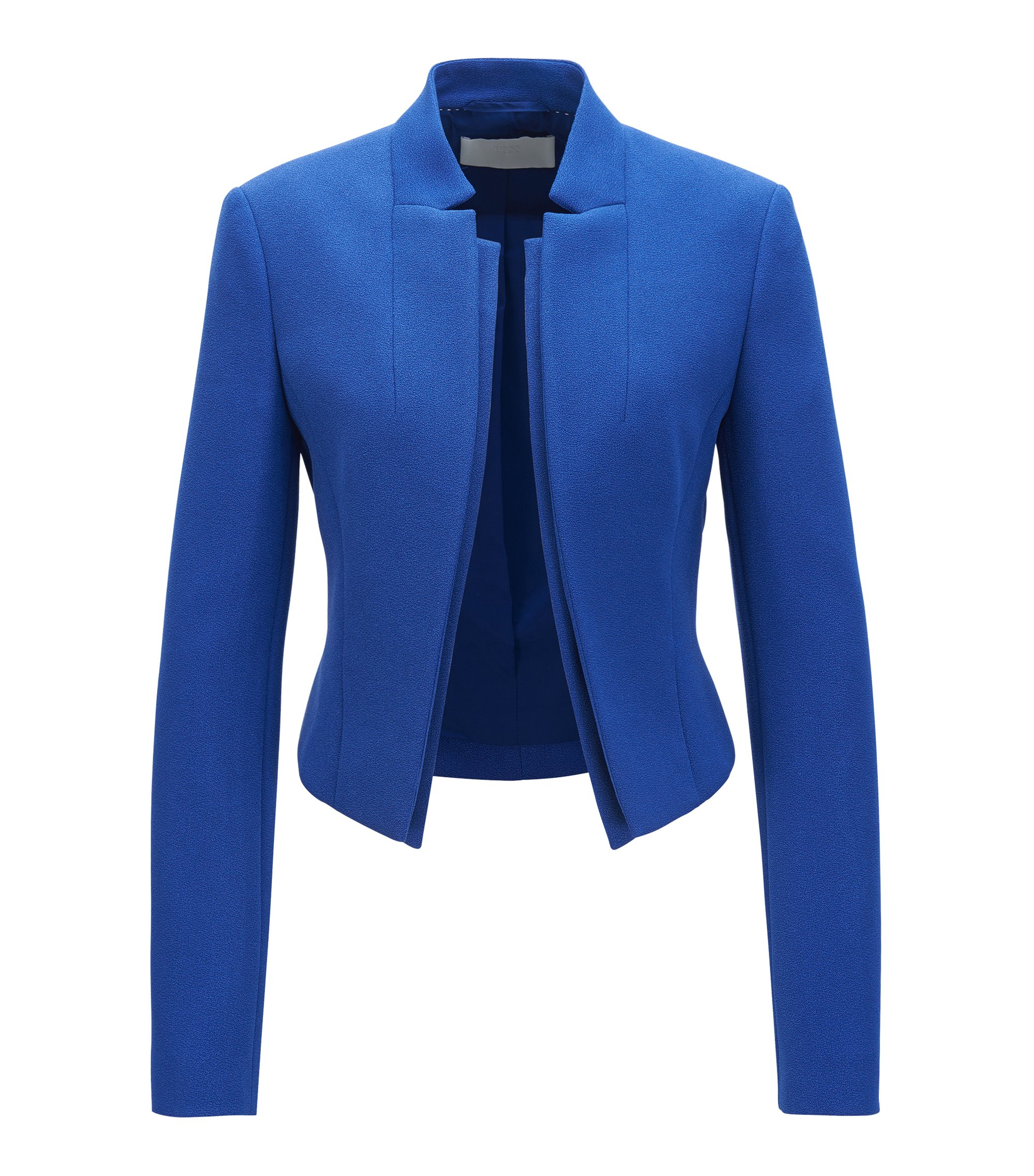 Giacca regular fit in crêpe con revers a doppio strato, Blu