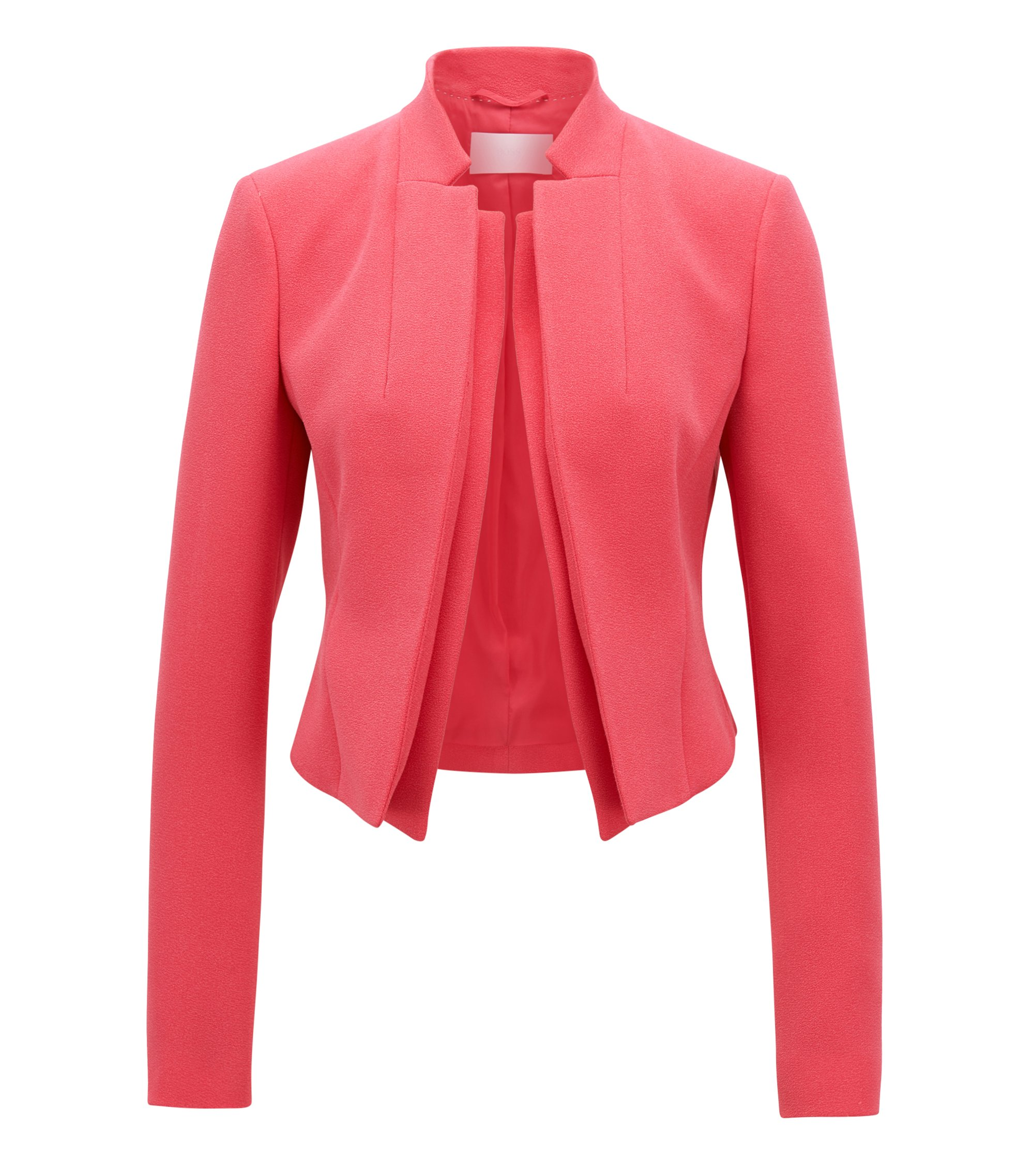 Giacca regular fit in crêpe con revers a doppio strato, Rosa