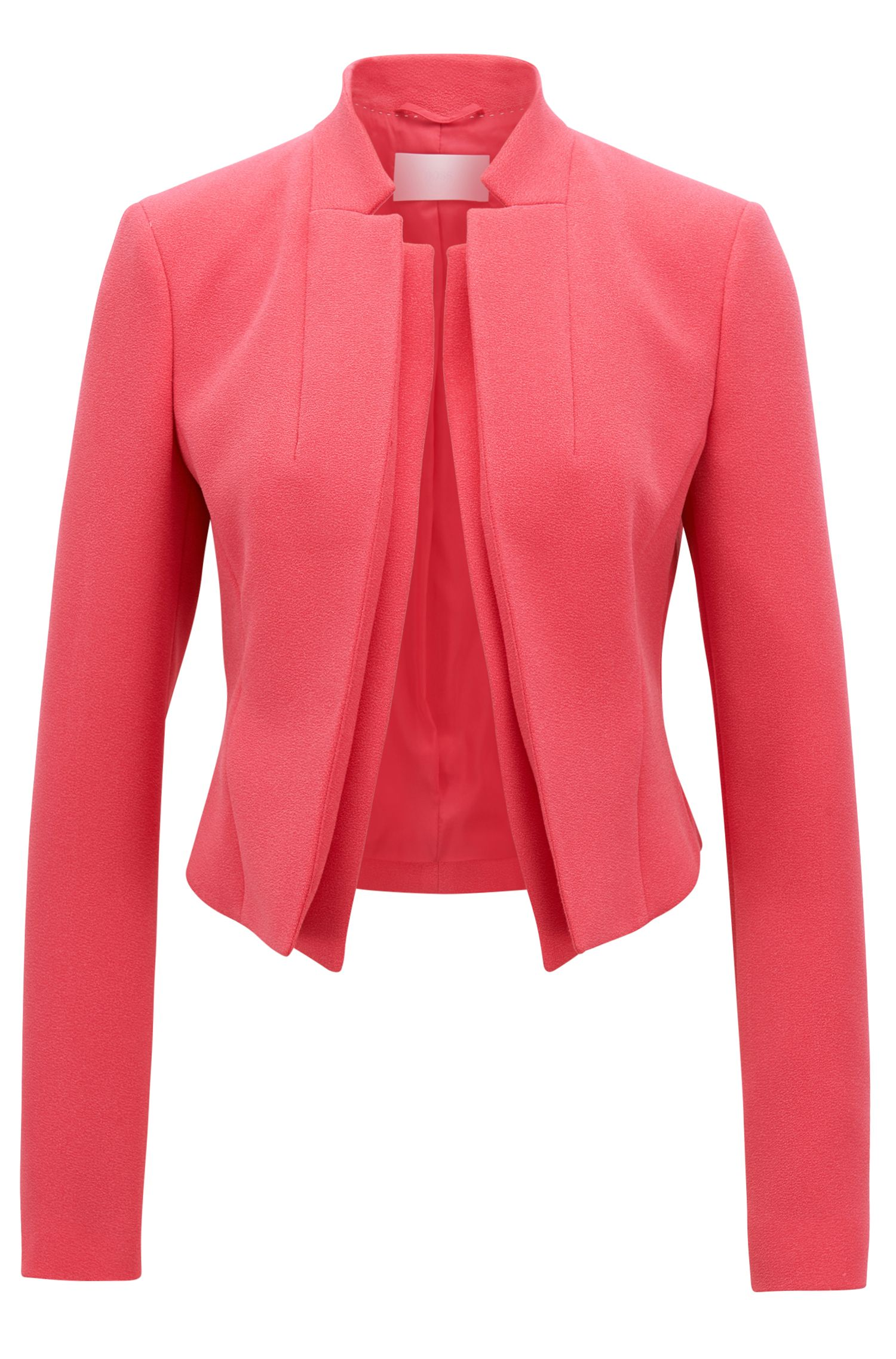 Regular-fit crepe tailored jacket with double-layer lapel
