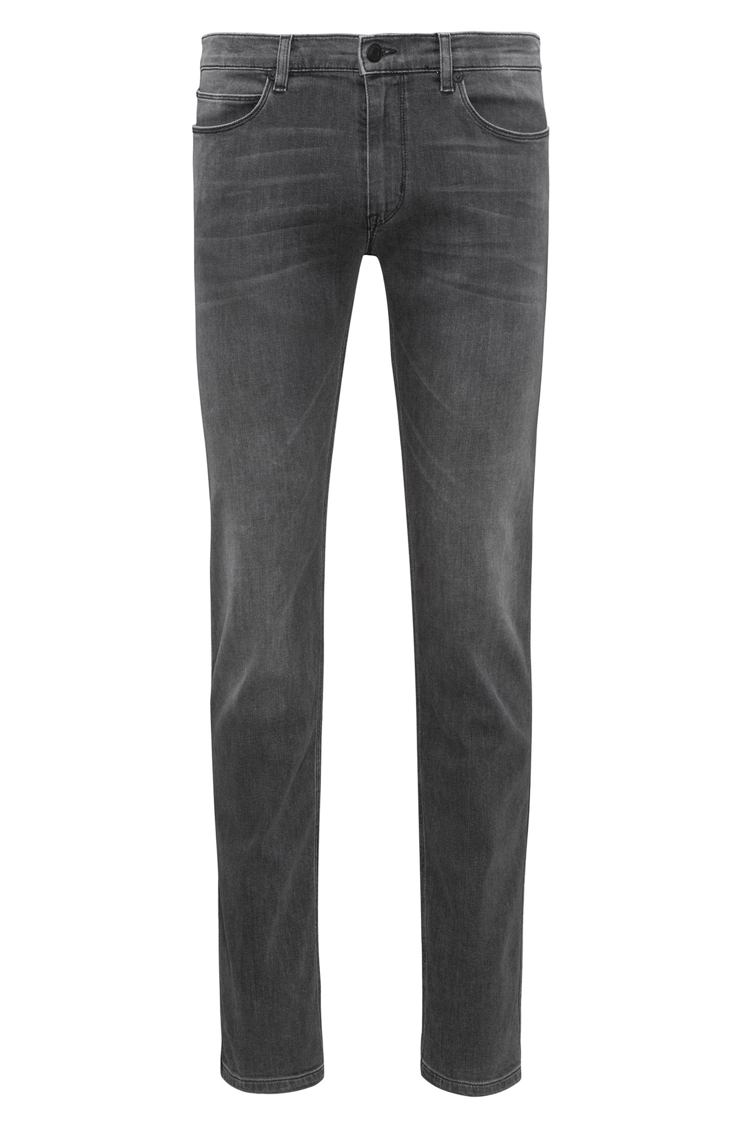 Slim-fit jeans in mid-grey stretch denim, Grey