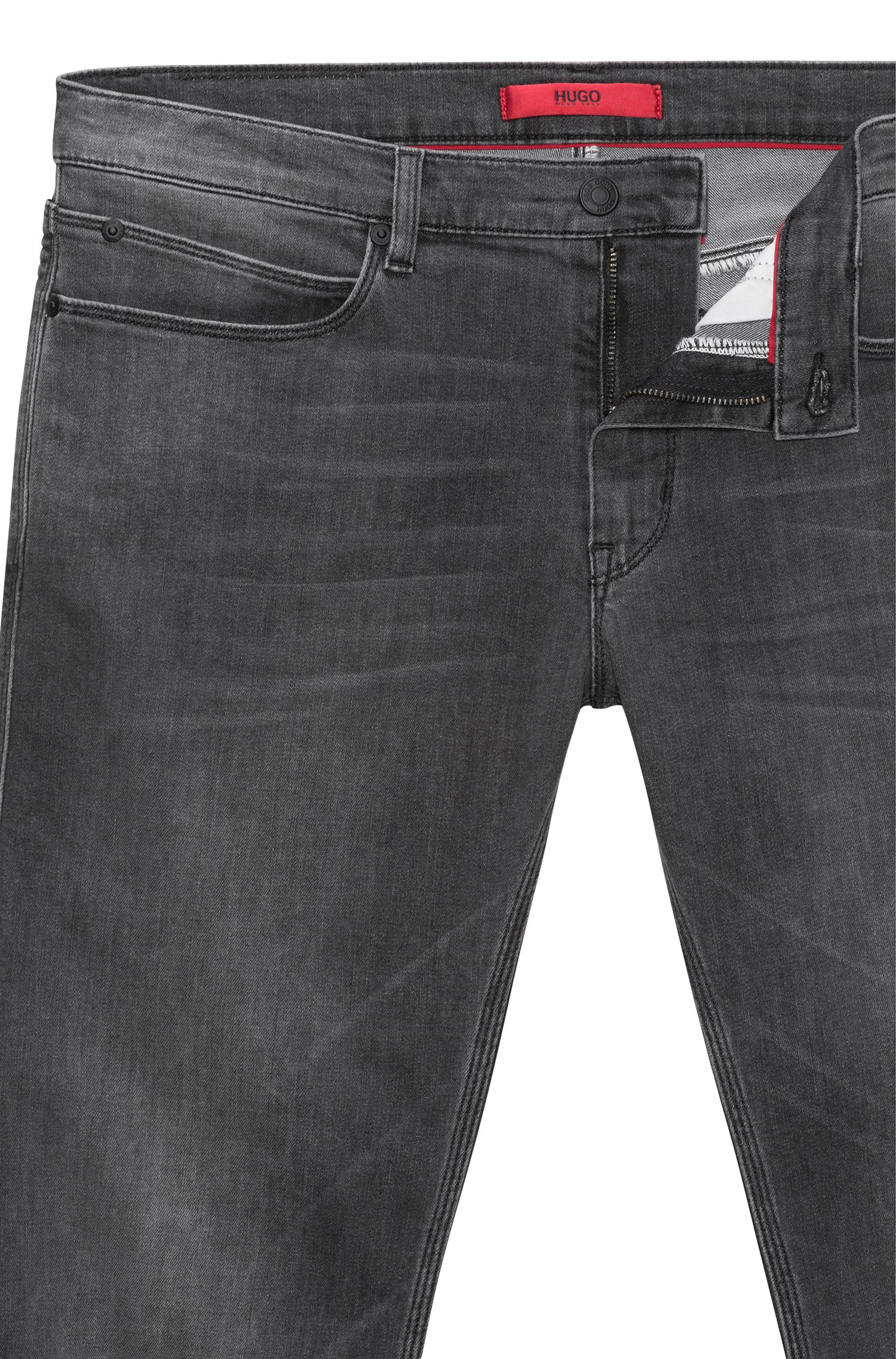 Jean Slim Fit en denim stretch gris moyen, Gris