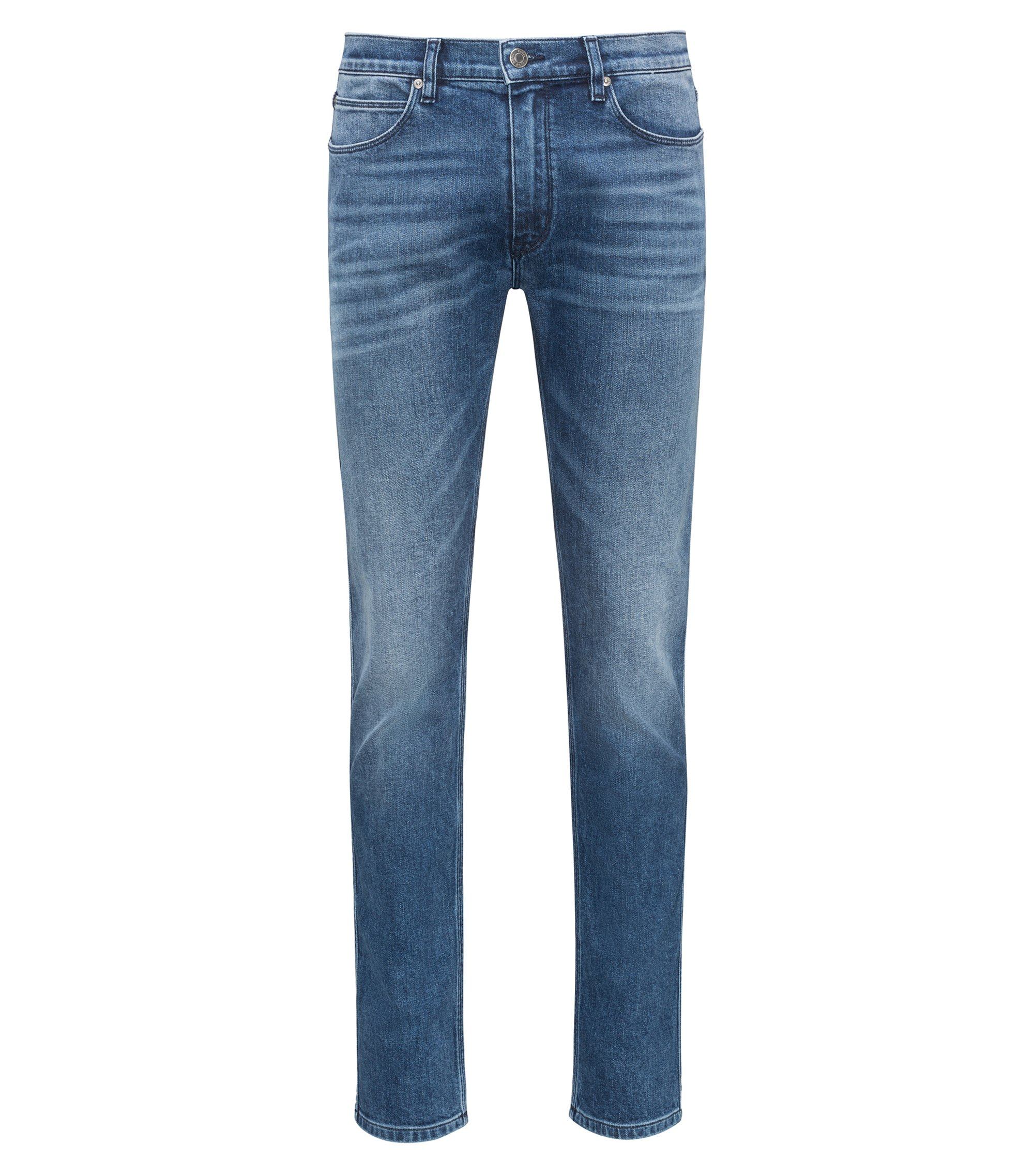 Skinny-fit jeans in washed stretch denim, Dark Blue