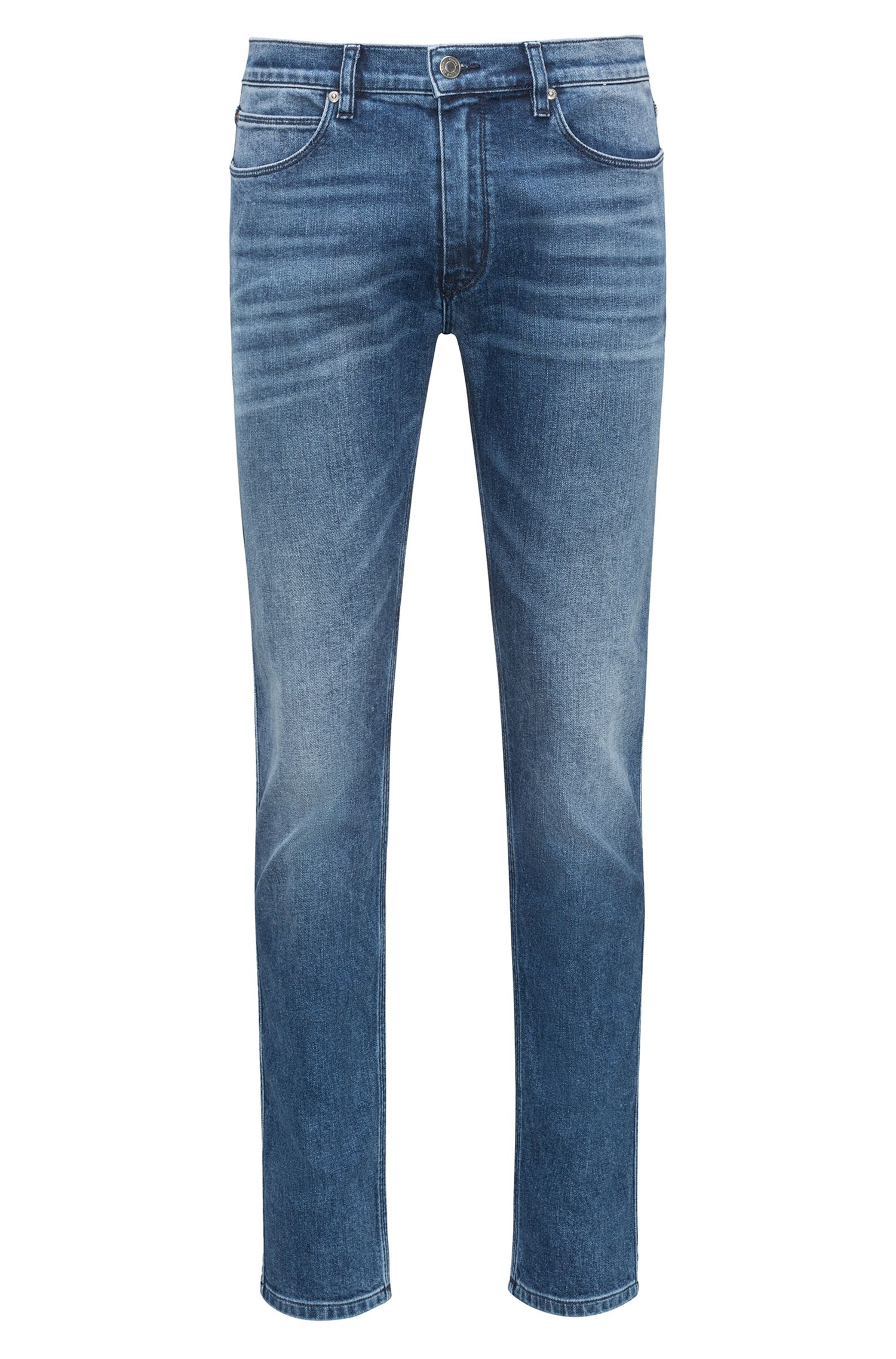 Skinny-fit jeans van gewassen stretchdenim