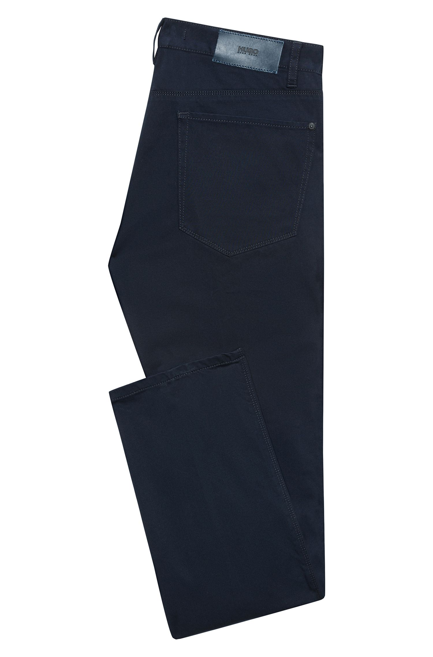 Slim-Fit Jeans aus Stretch-Denim mit kontrastfarbenen Paspeln, Dunkelblau