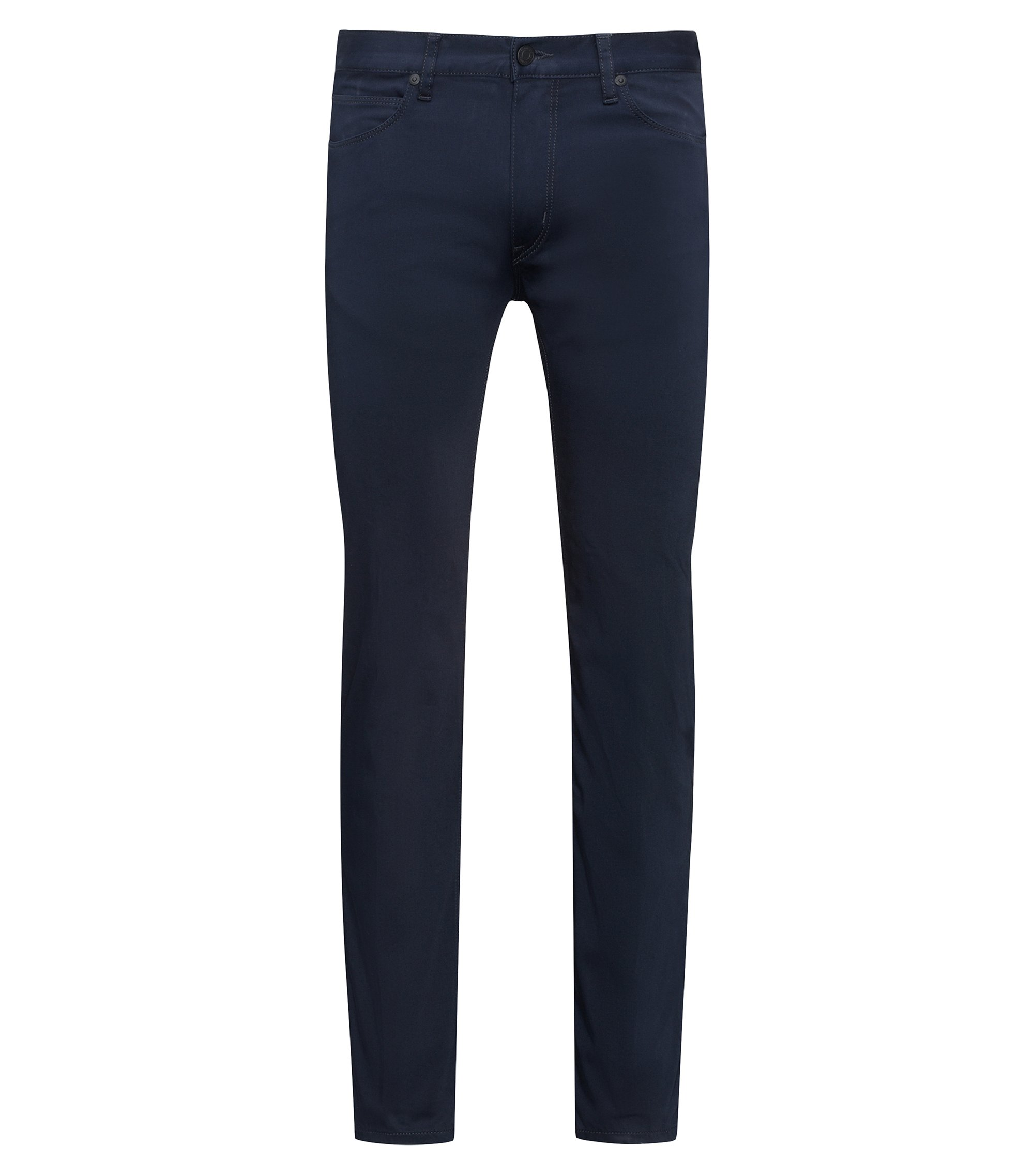 Slim-fit jeans in stretch denim with contrast piping, Dark Blue