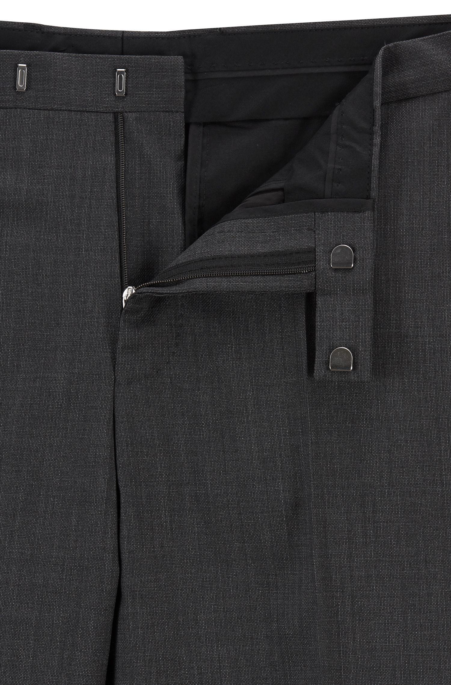 Dezent gemusterter Regular-Fit Anzug aus Schurwolle, Schwarz