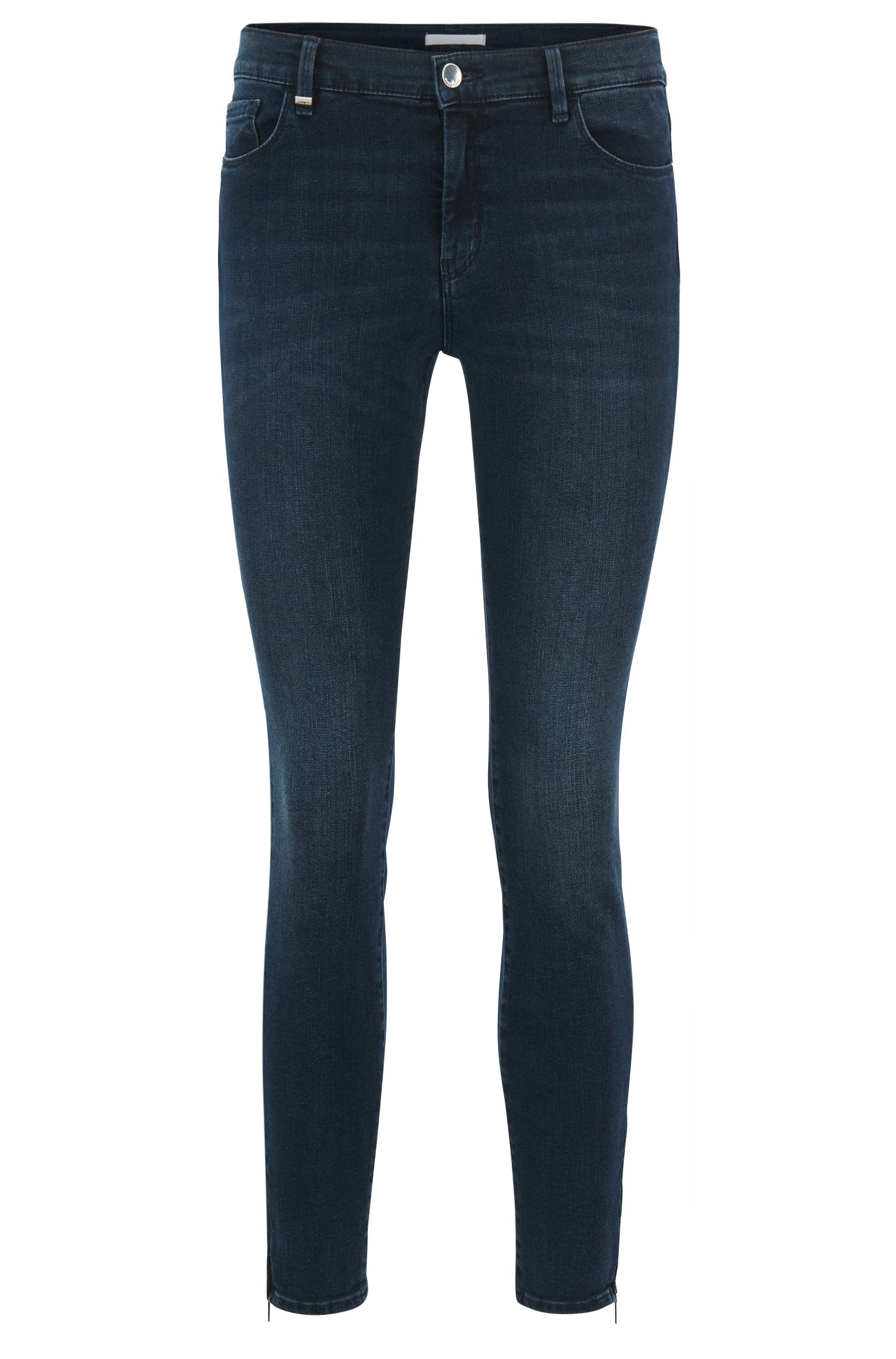 Jeans slim fit in denim super-elasticizzato con zip sul fondo gamba, Blu scuro