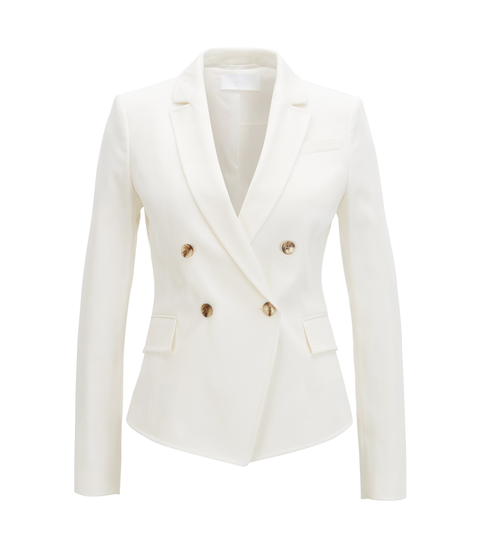 Veste croisée Regular Fit en coton stretch, Chair