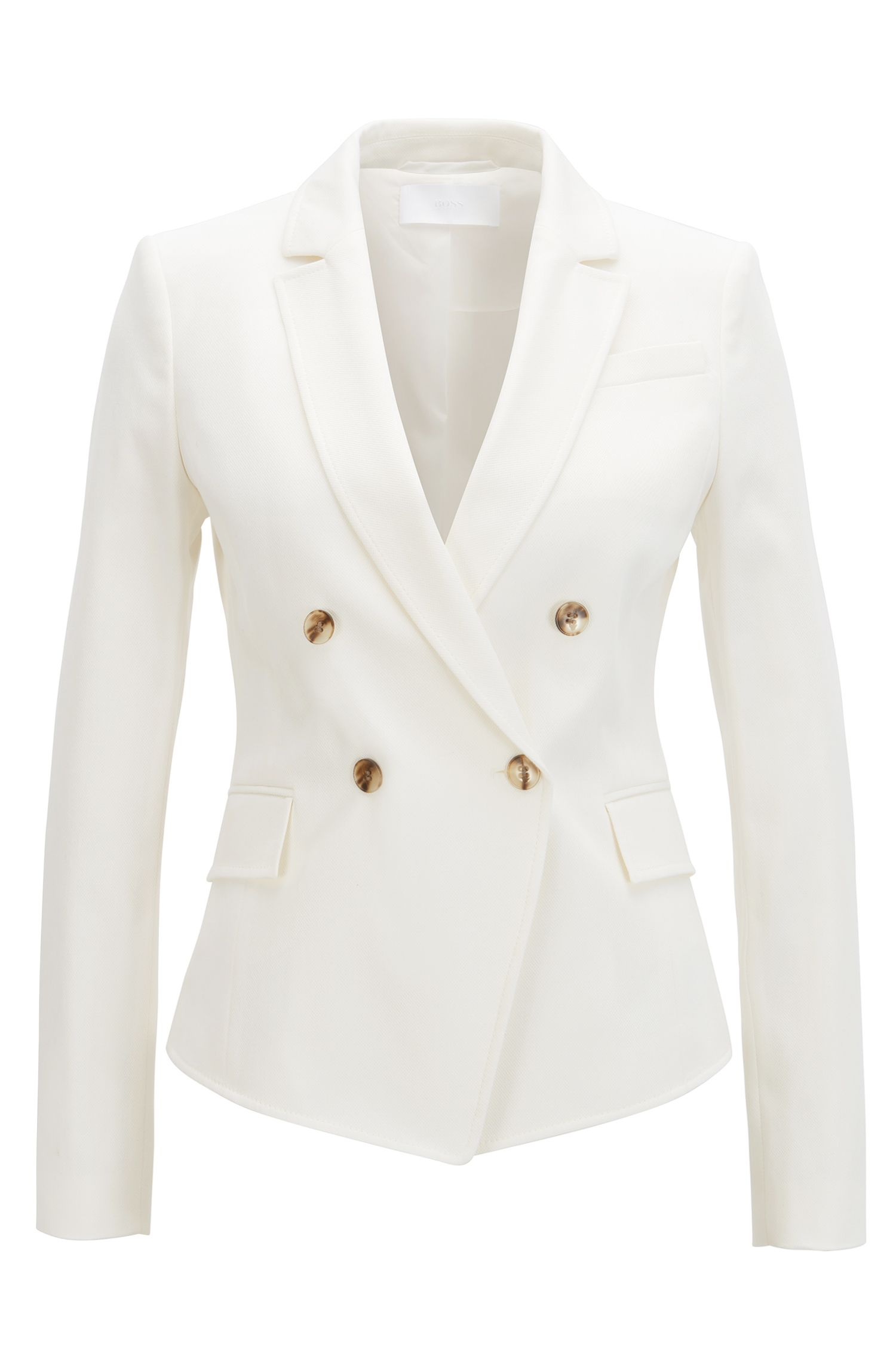 Double-breasted regular-fit jacket in stretch cotton