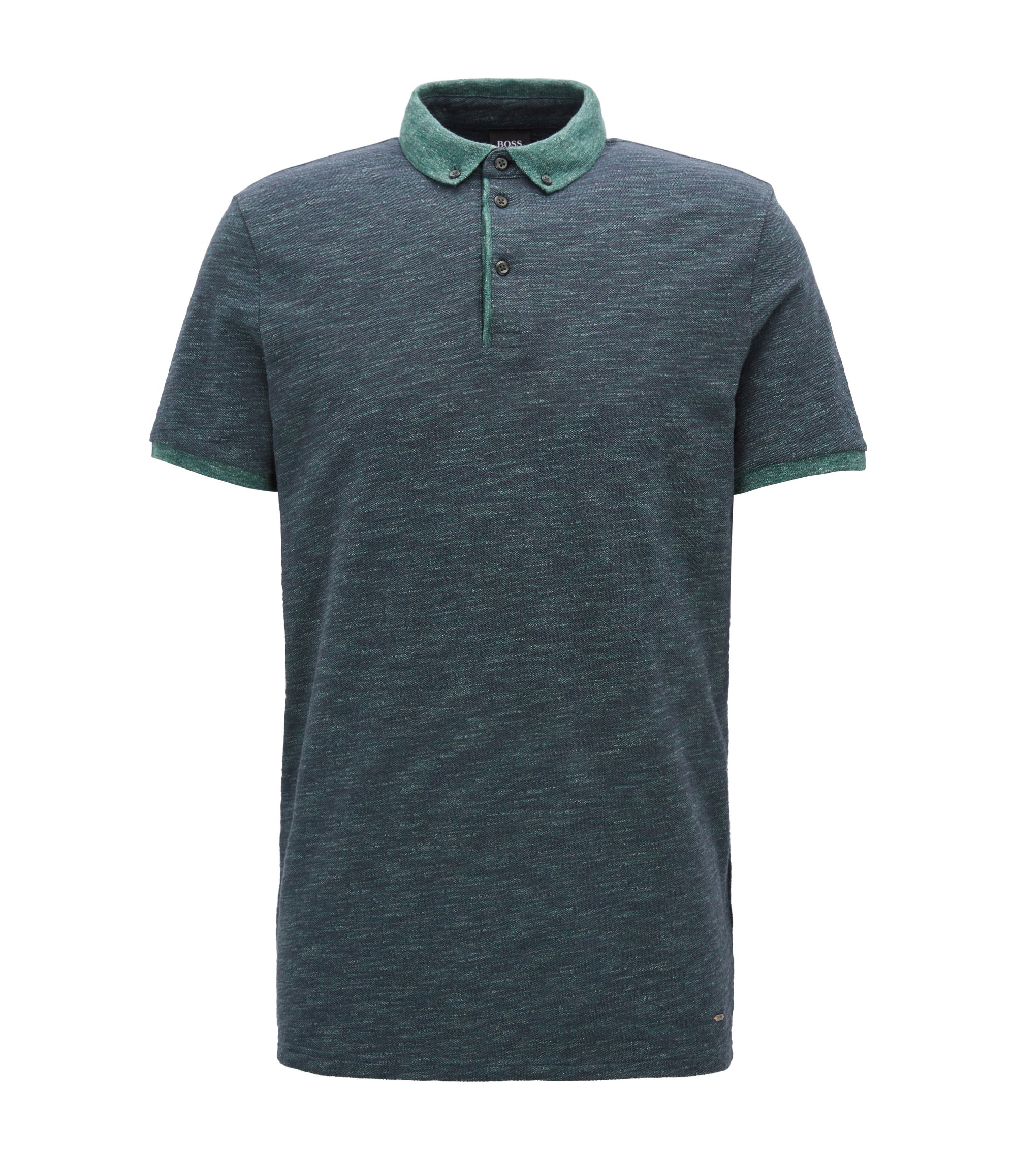 Relaxed-fit polo shirt in heathered cotton piqué , Dark Green