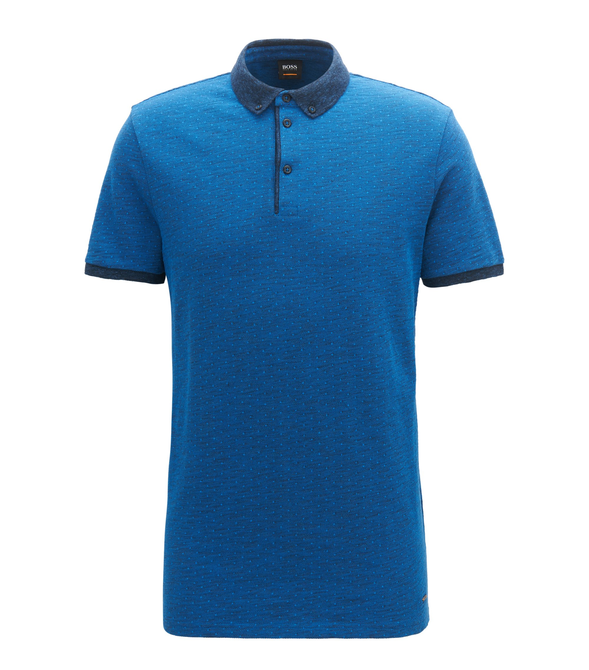 Relaxed-fit polo shirt in heathered cotton piqué , Blue