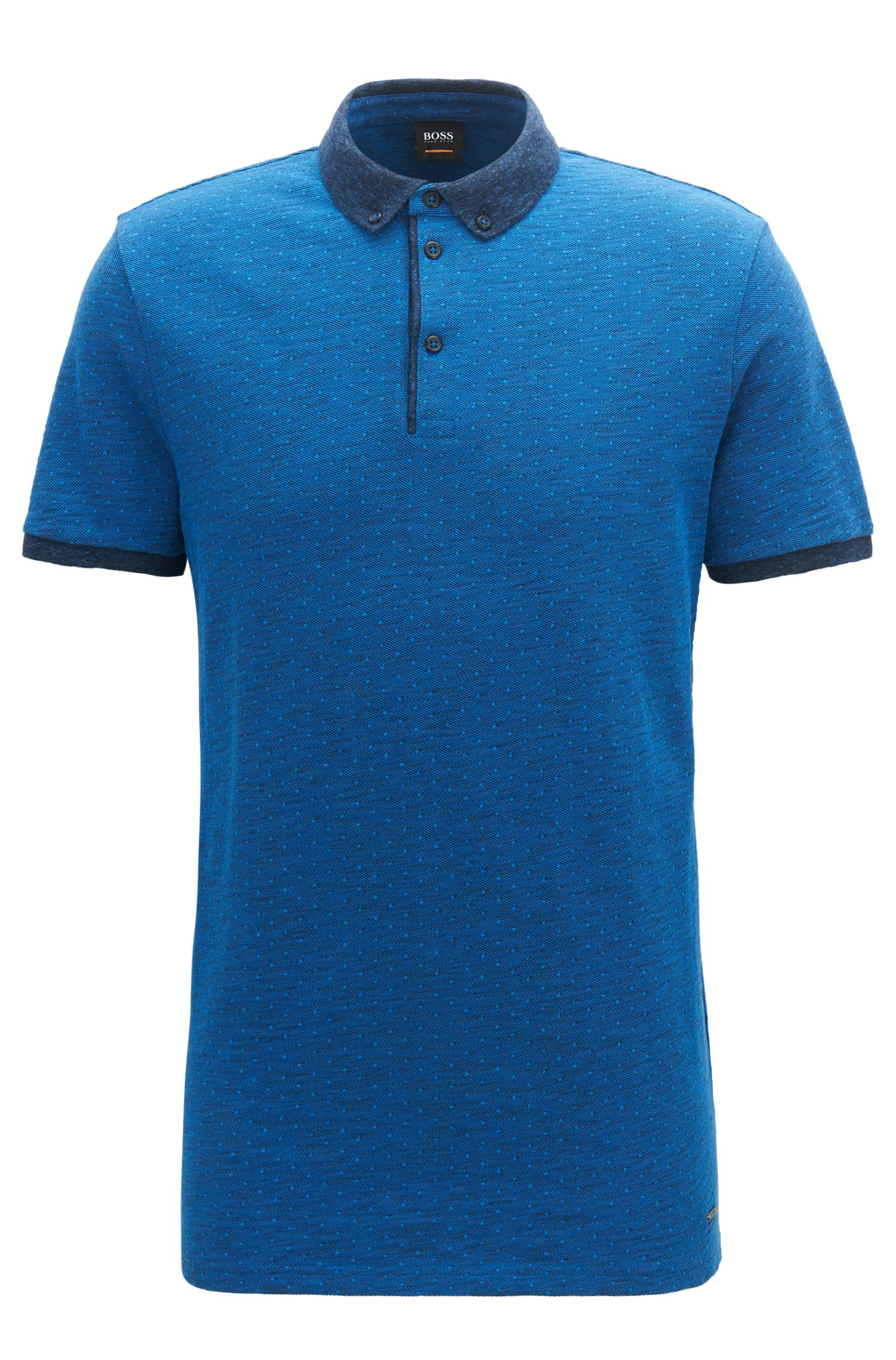 Polo Relaxed Fit en piqué de coton chiné , Bleu