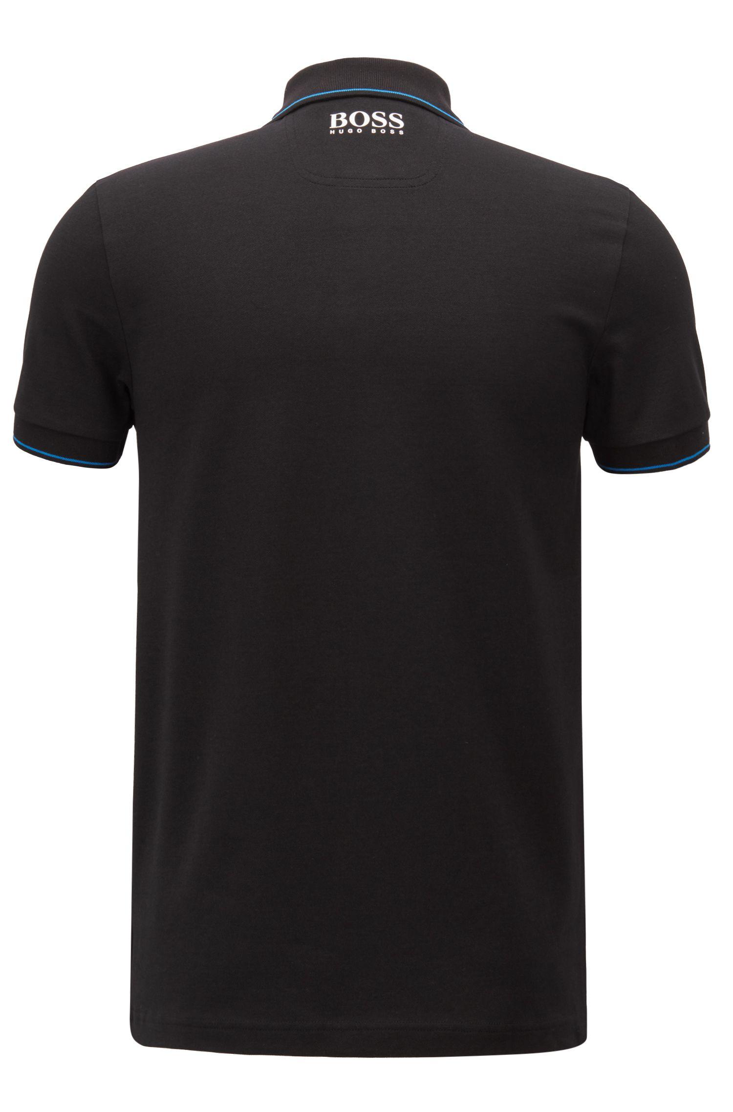 Feuchtigkeitsableitendes Poloshirt aus Stretch-Piqué, Schwarz
