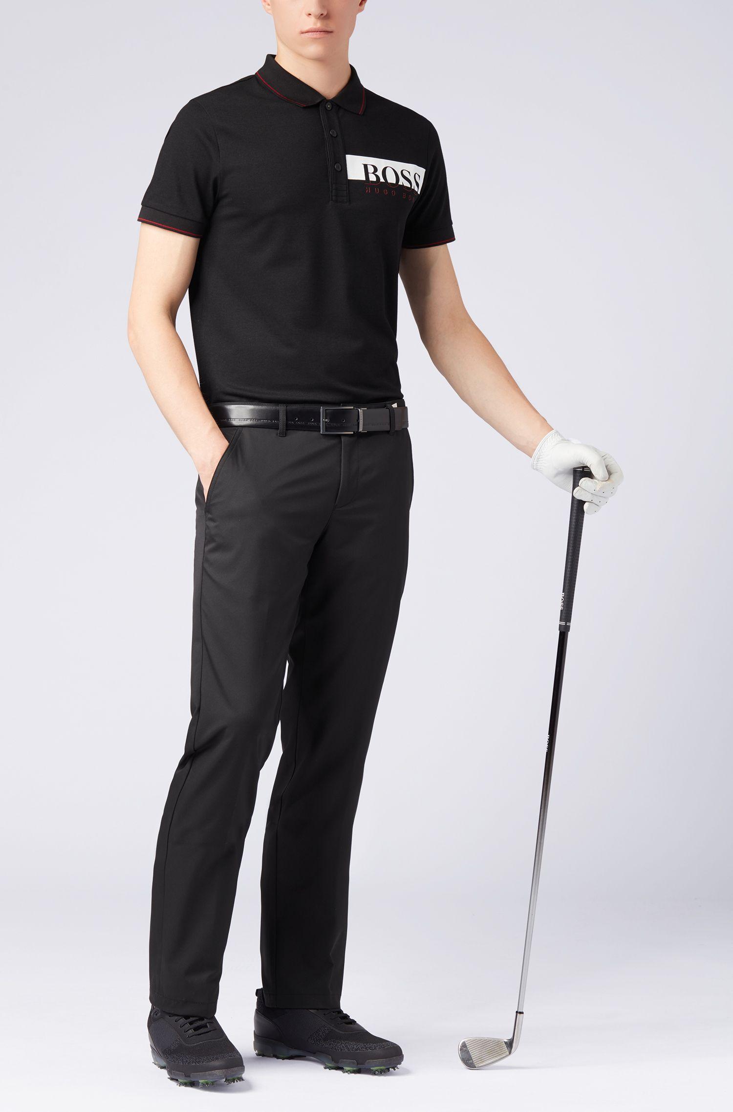Polo Slim Fit en coton avec gestion de l'humidité, Noir