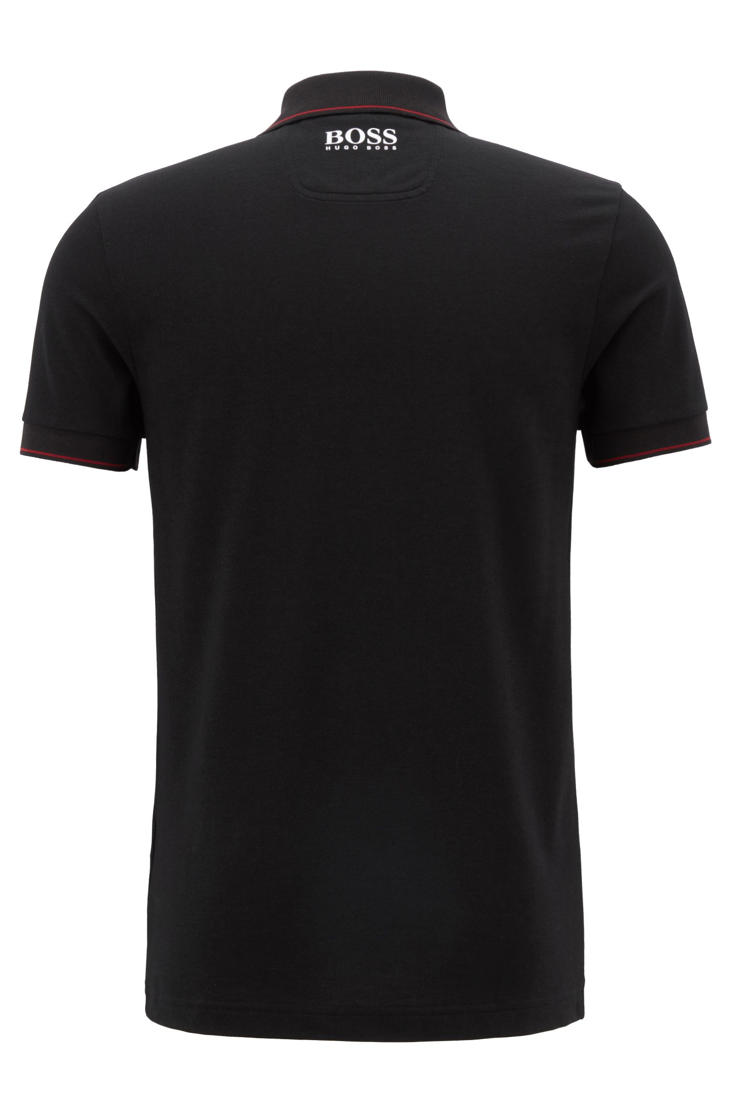 Slim-fit polo shirt with moisture-management, Black