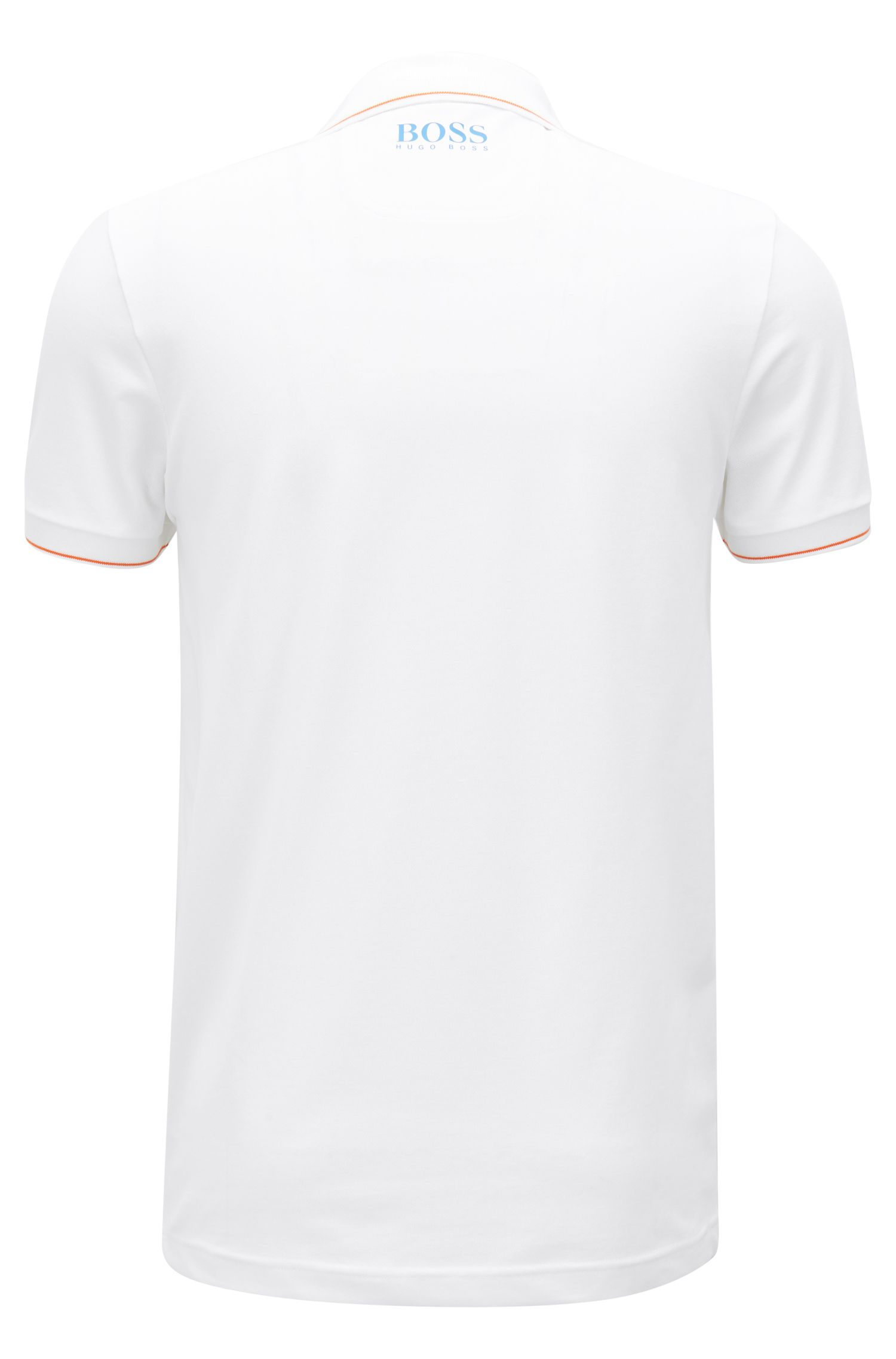 Slim-fit polo shirt with moisture-management, White