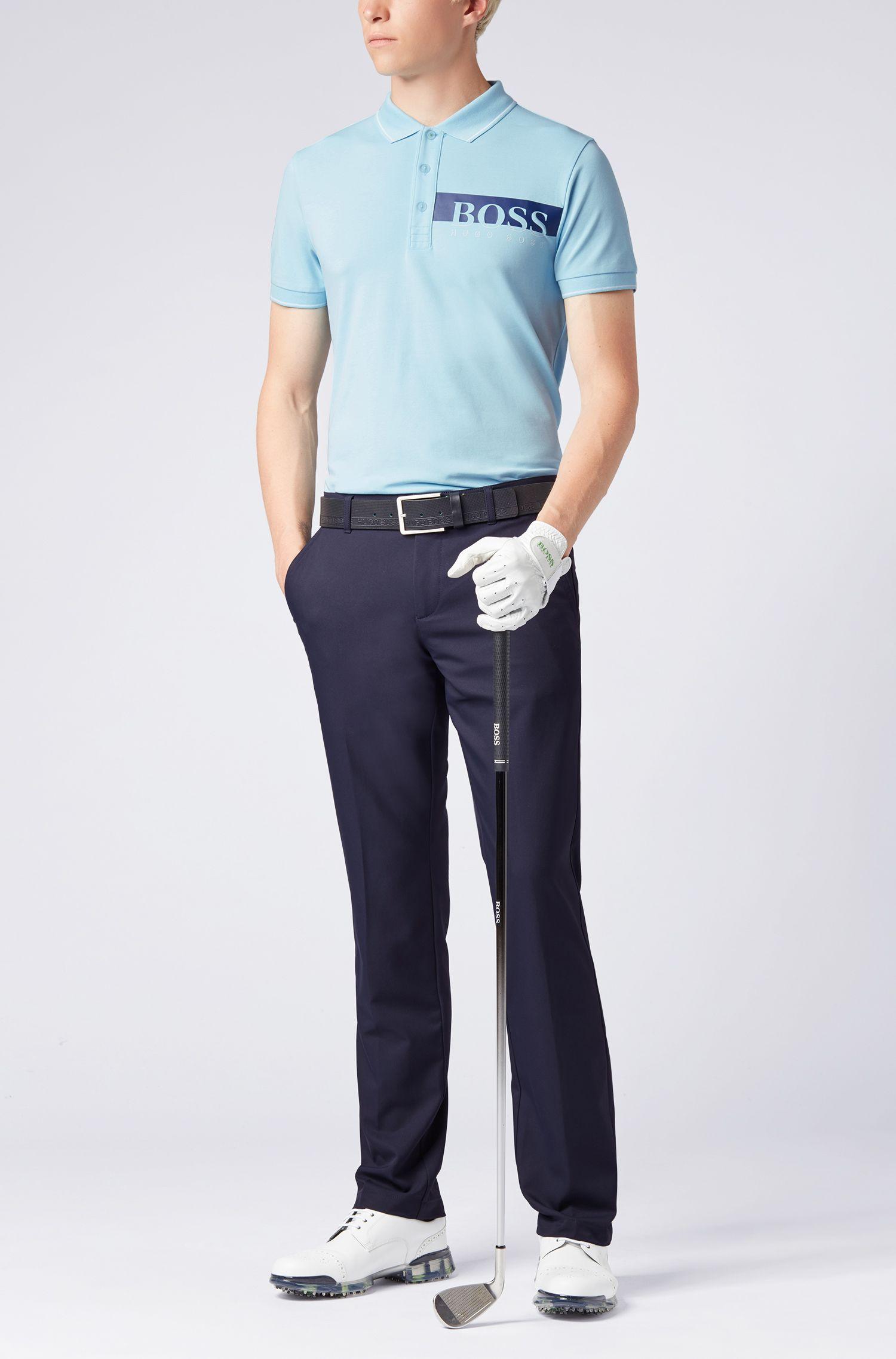 Slim-fit polo van een vochtafvoerend materiaal, Lichtblauw