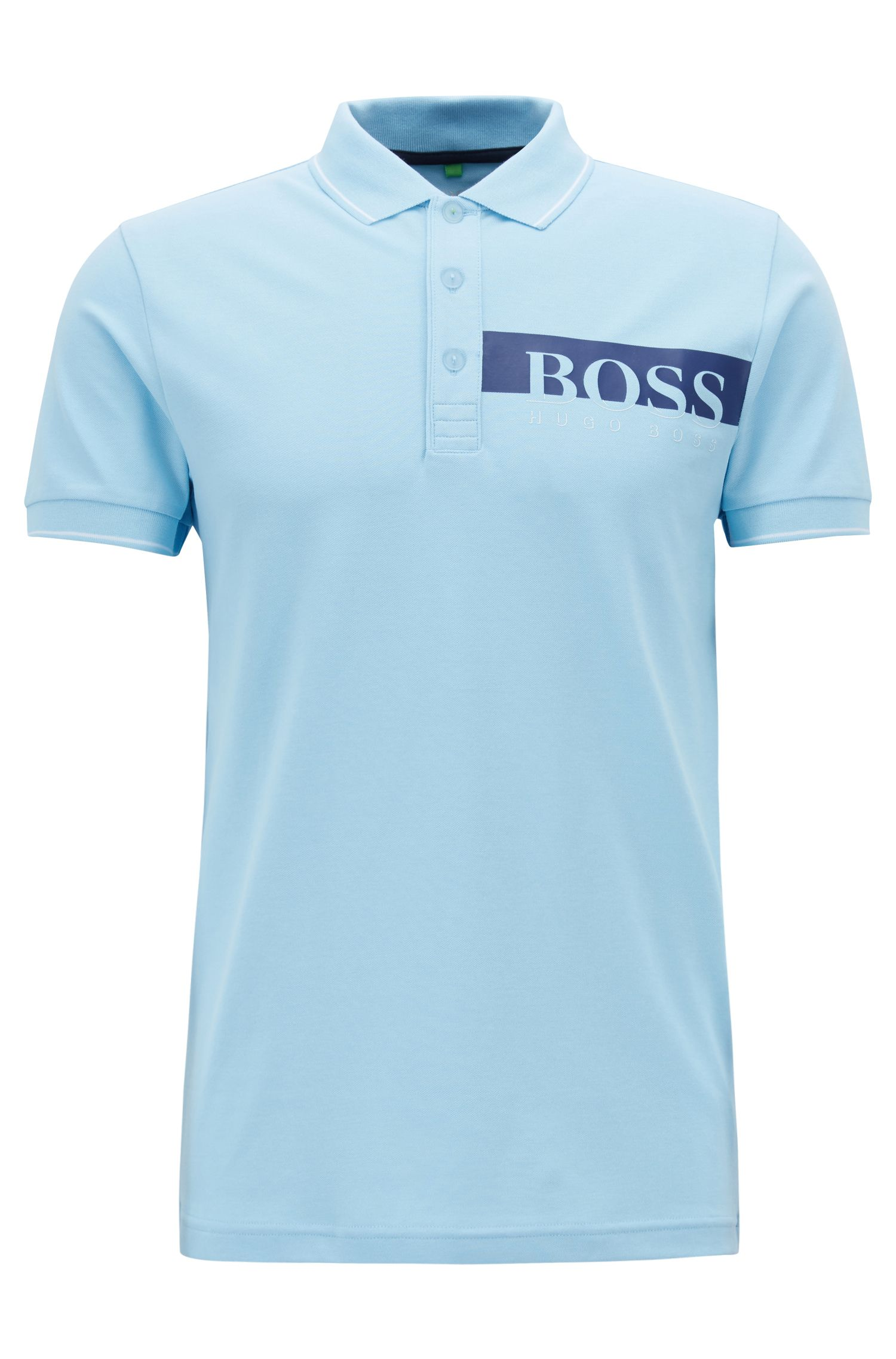 Slim-fit polo shirt with moisture-management, Light Blue