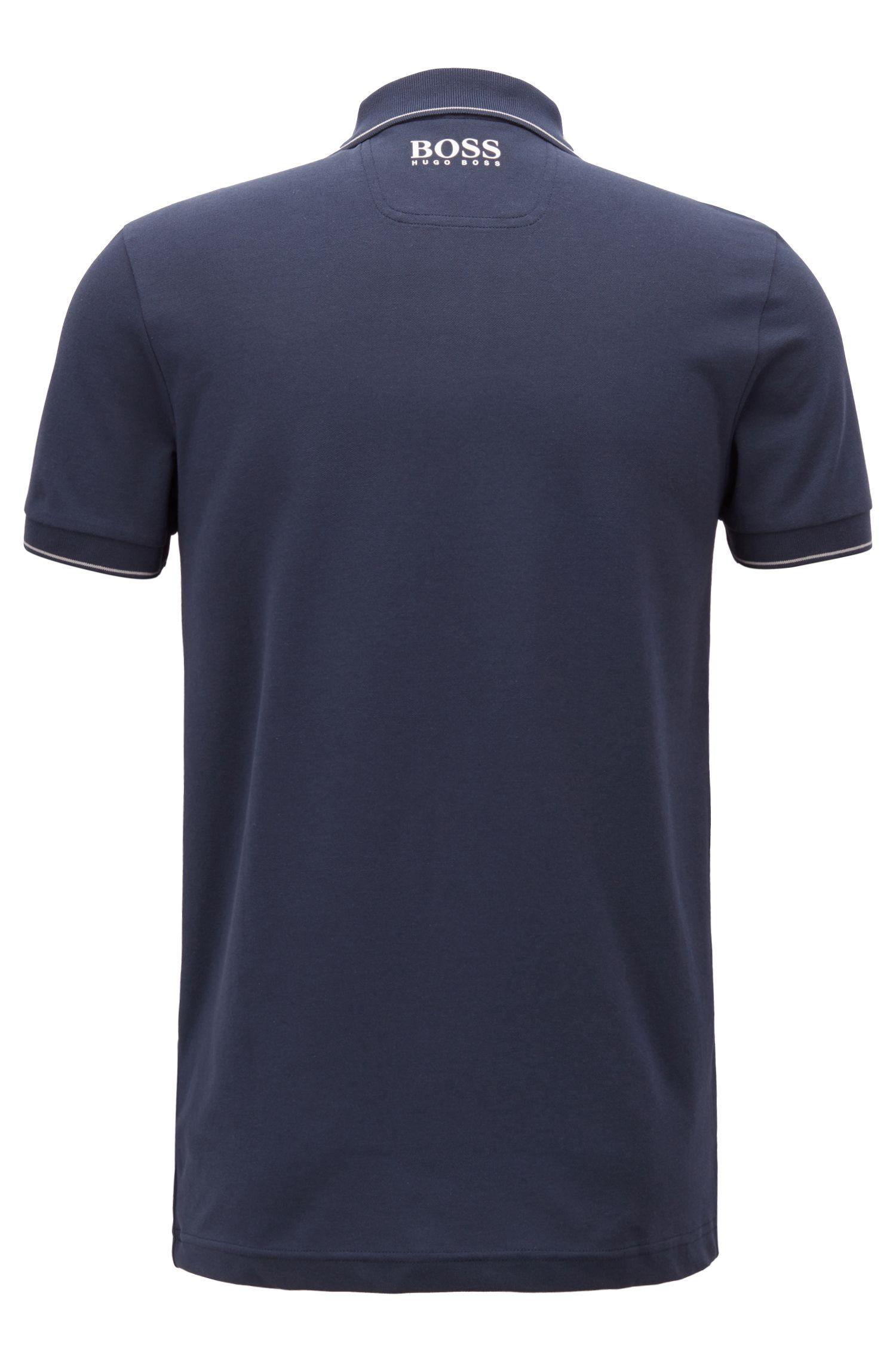 Feuchtigkeitsableitendes Poloshirt aus Stretch-Piqué, Dunkelblau