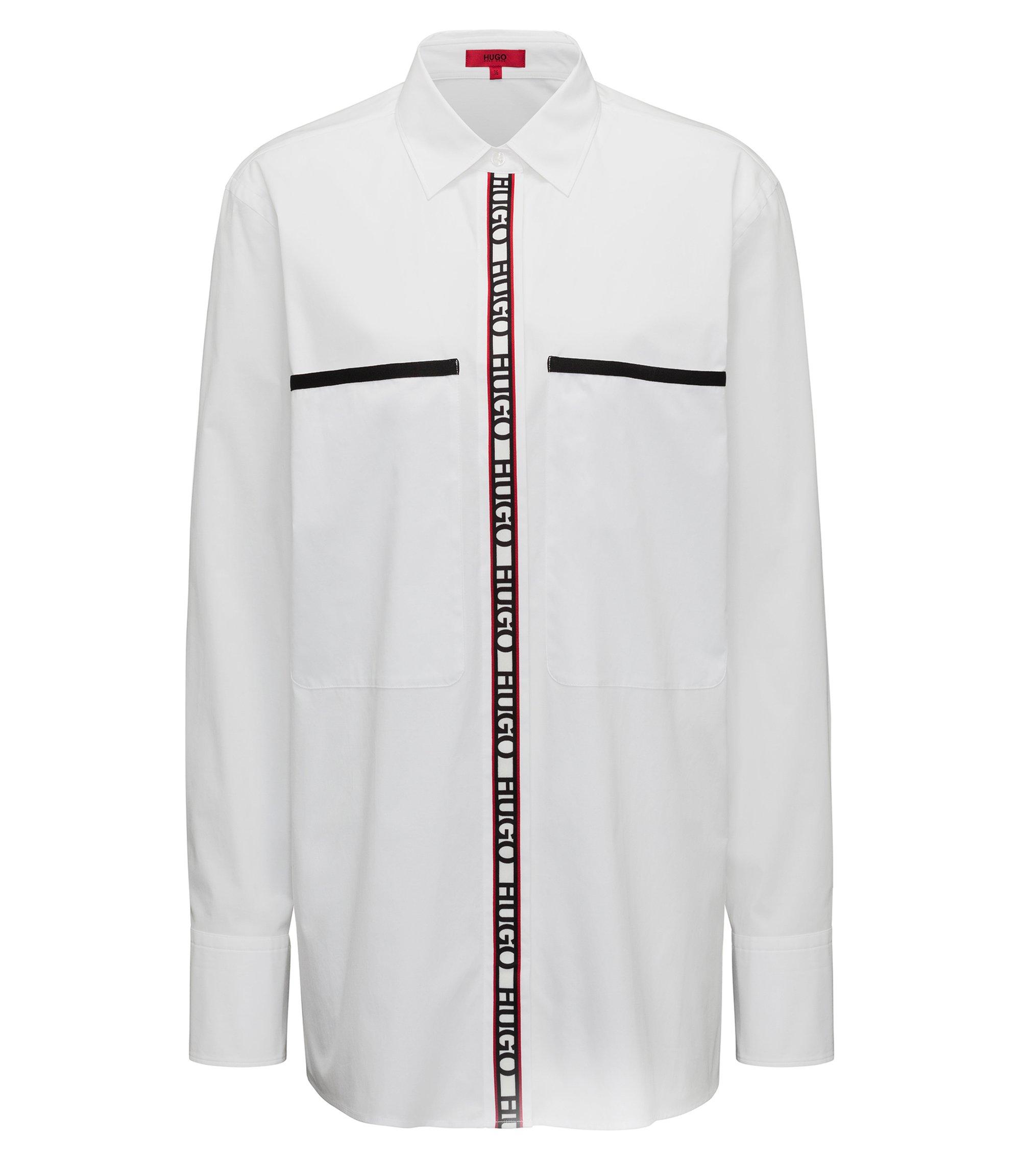 Camicetta oversize in cotone elasticizzato con nastro con logo, Bianco