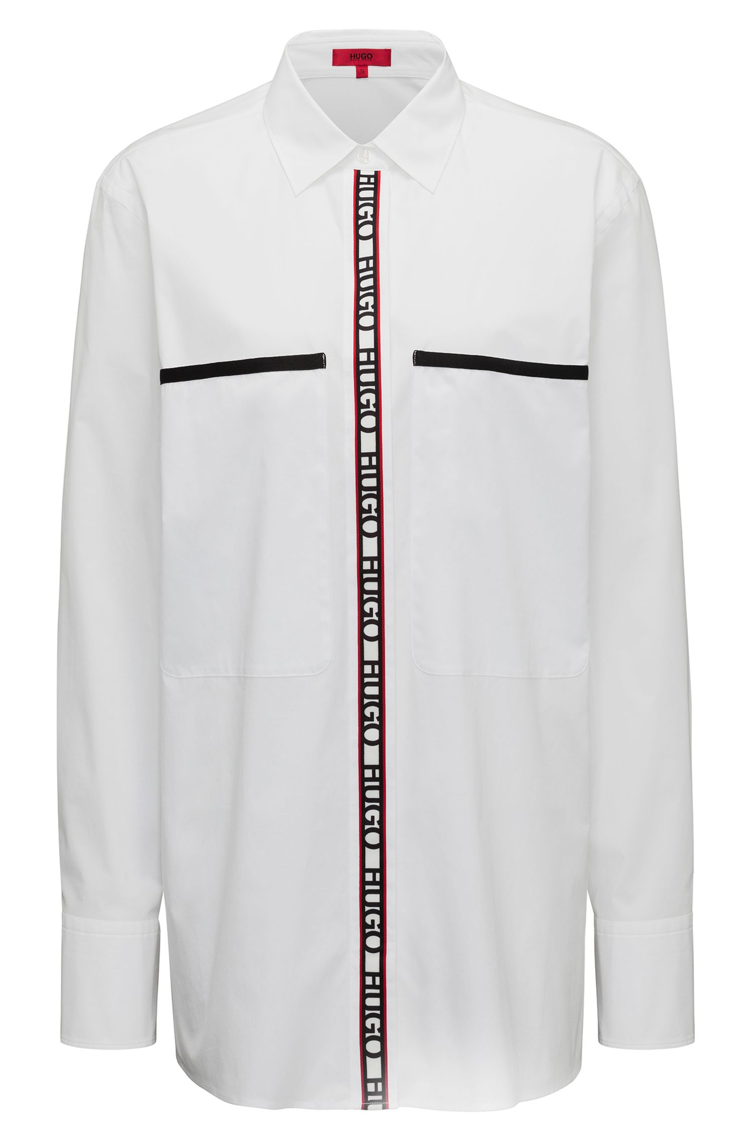 Chemisier Oversized Fit en coton stretch avec bande logo, Blanc