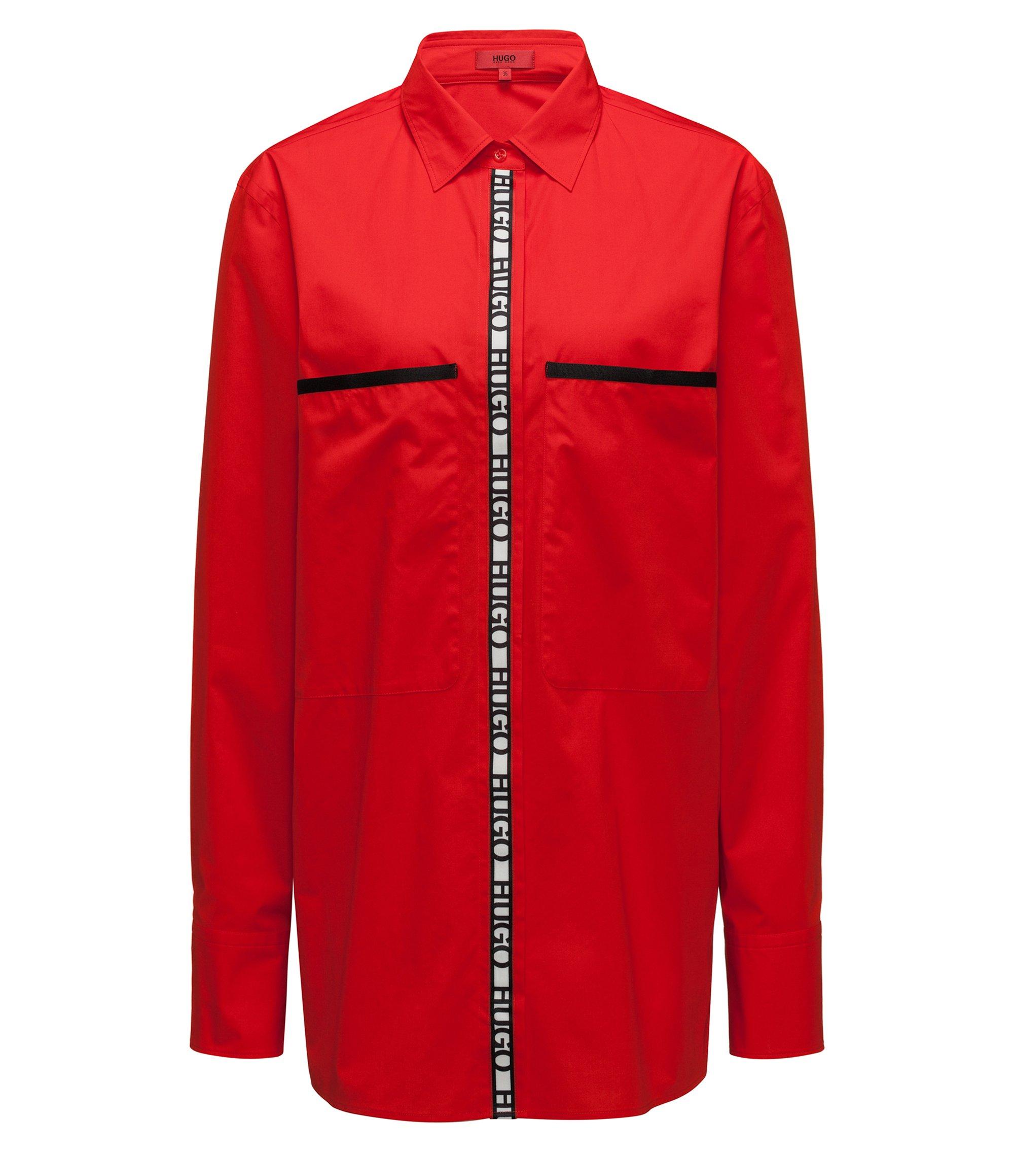 Camicetta oversize in cotone elasticizzato con nastro con logo, Rosso