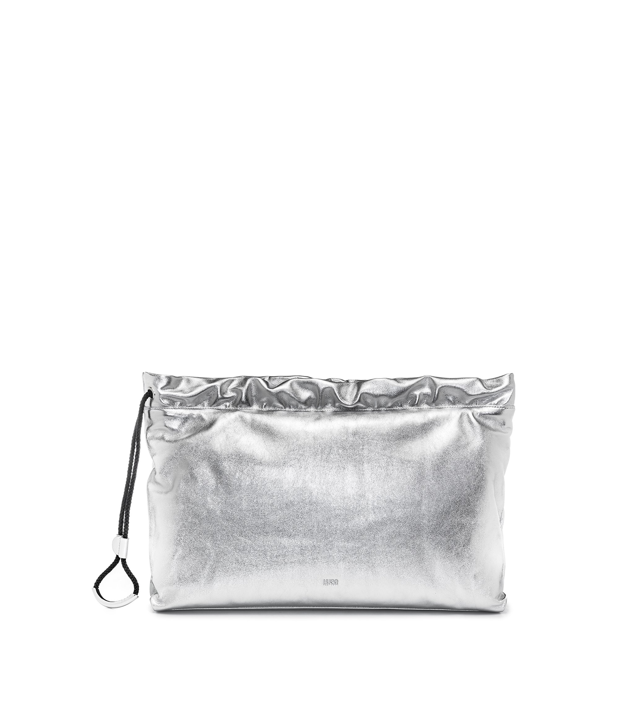 Leather clutch bag with drawstring, Silver