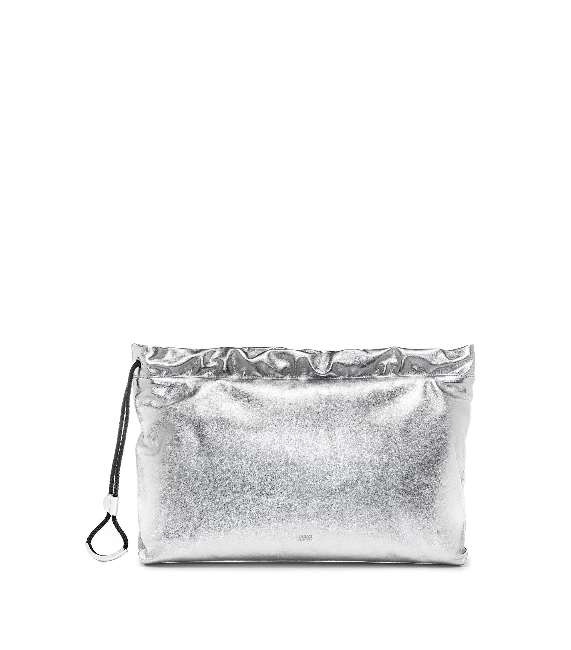 Clutch aus Leder mit Tunnelzug, Silber