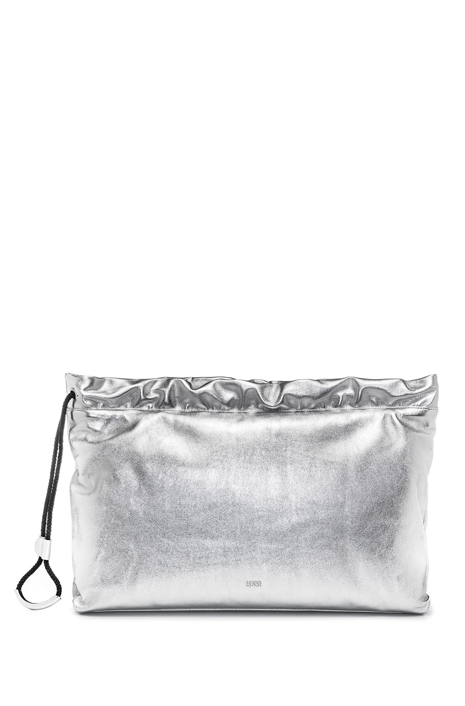Pochette en cuir avec cordon de serrage