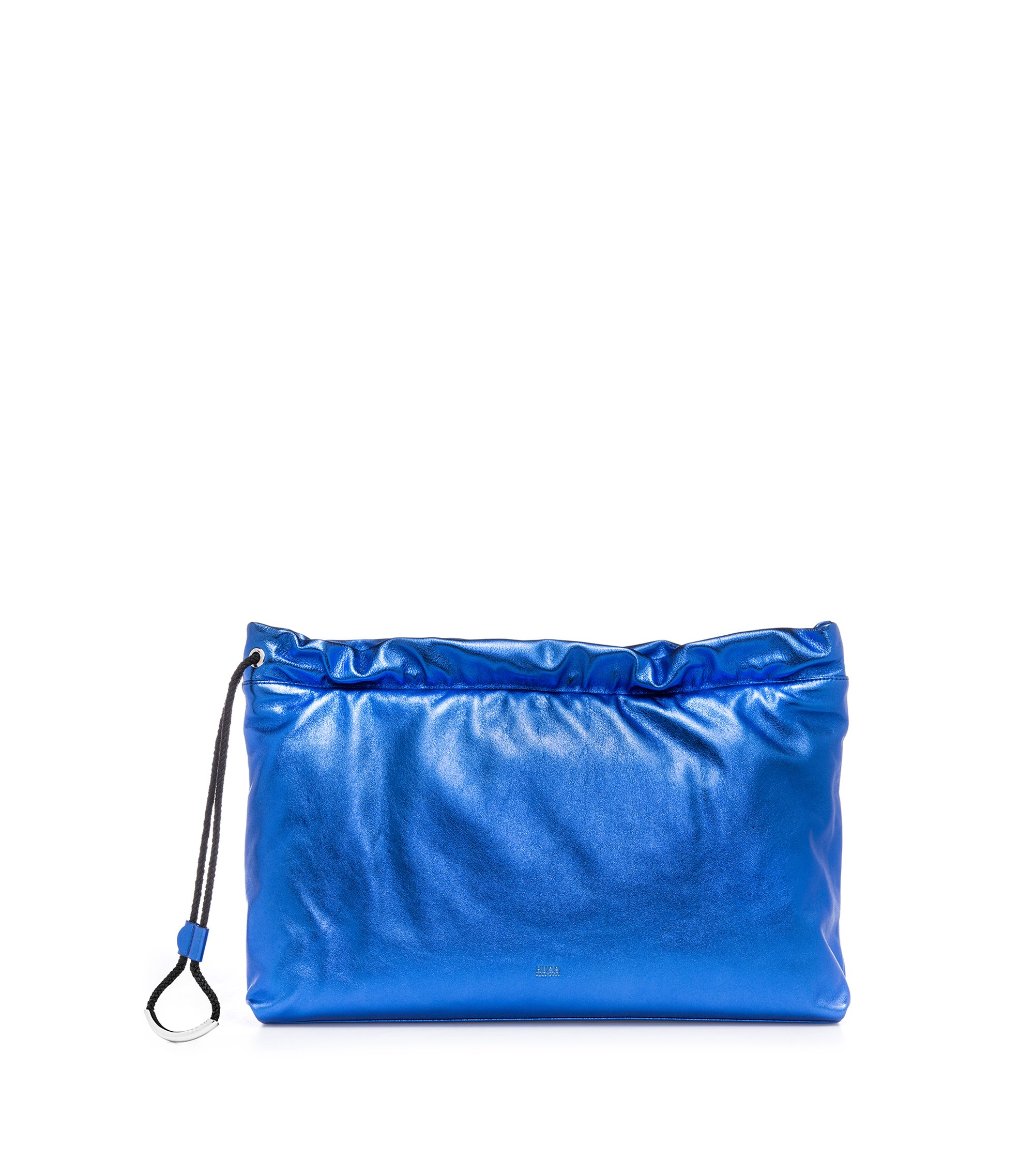 Leather clutch bag with drawstring, Blue