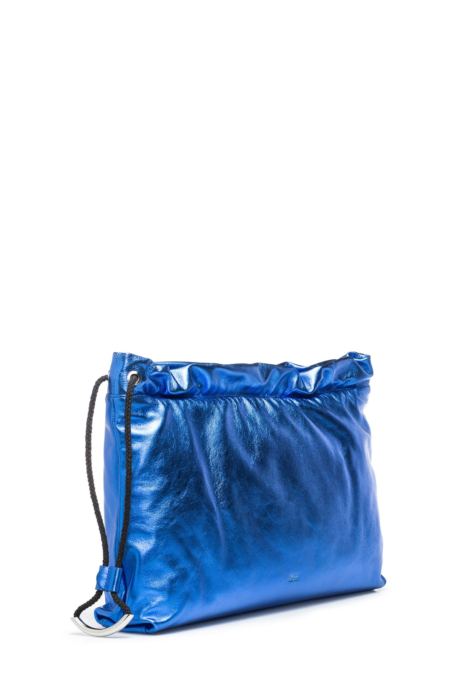 Leather clutch bag with drawstring