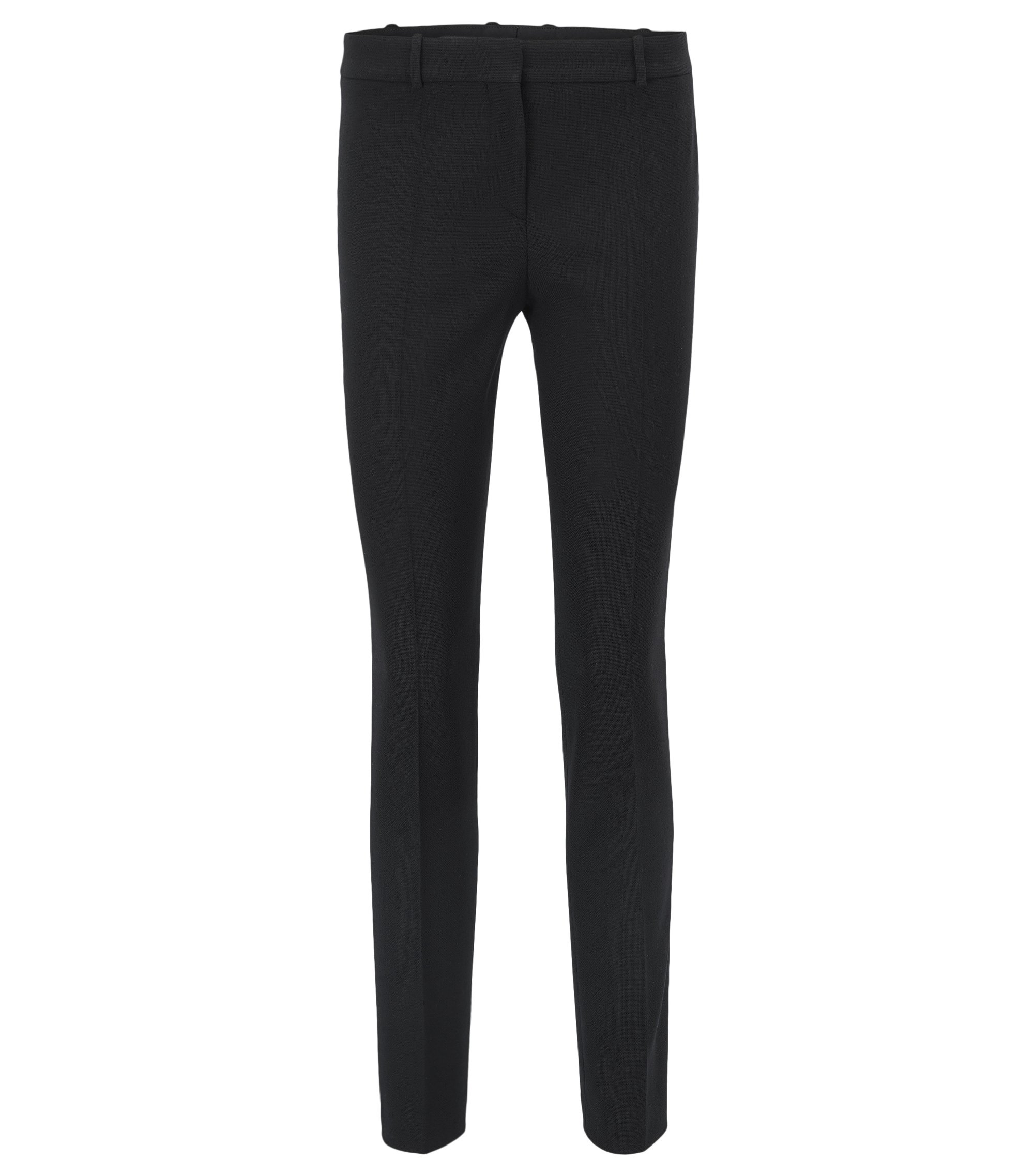Slim-fit trousers in stretch virgin wool, Black