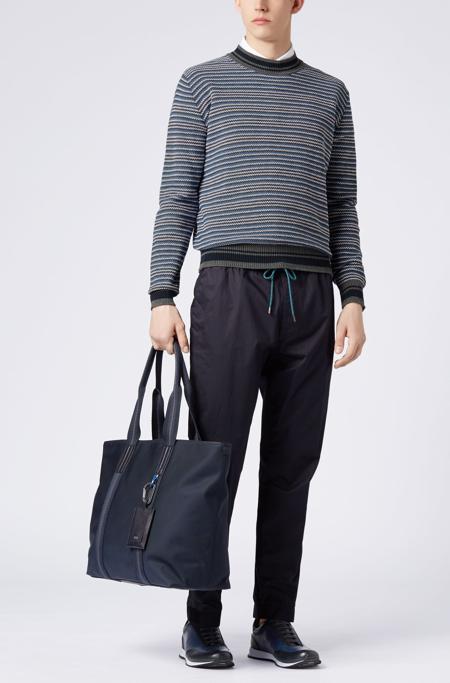 Gestreifter Pullover aus strukturiertem Baumwoll-Jacquard, Grau