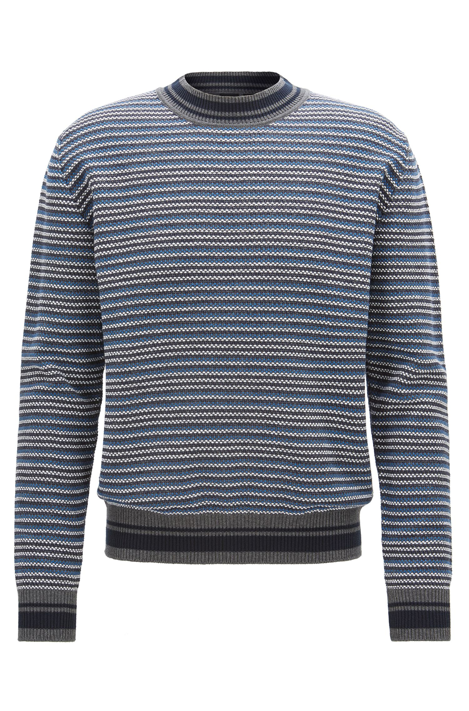 Multi-textured striped sweater in cotton jacquard, Grey