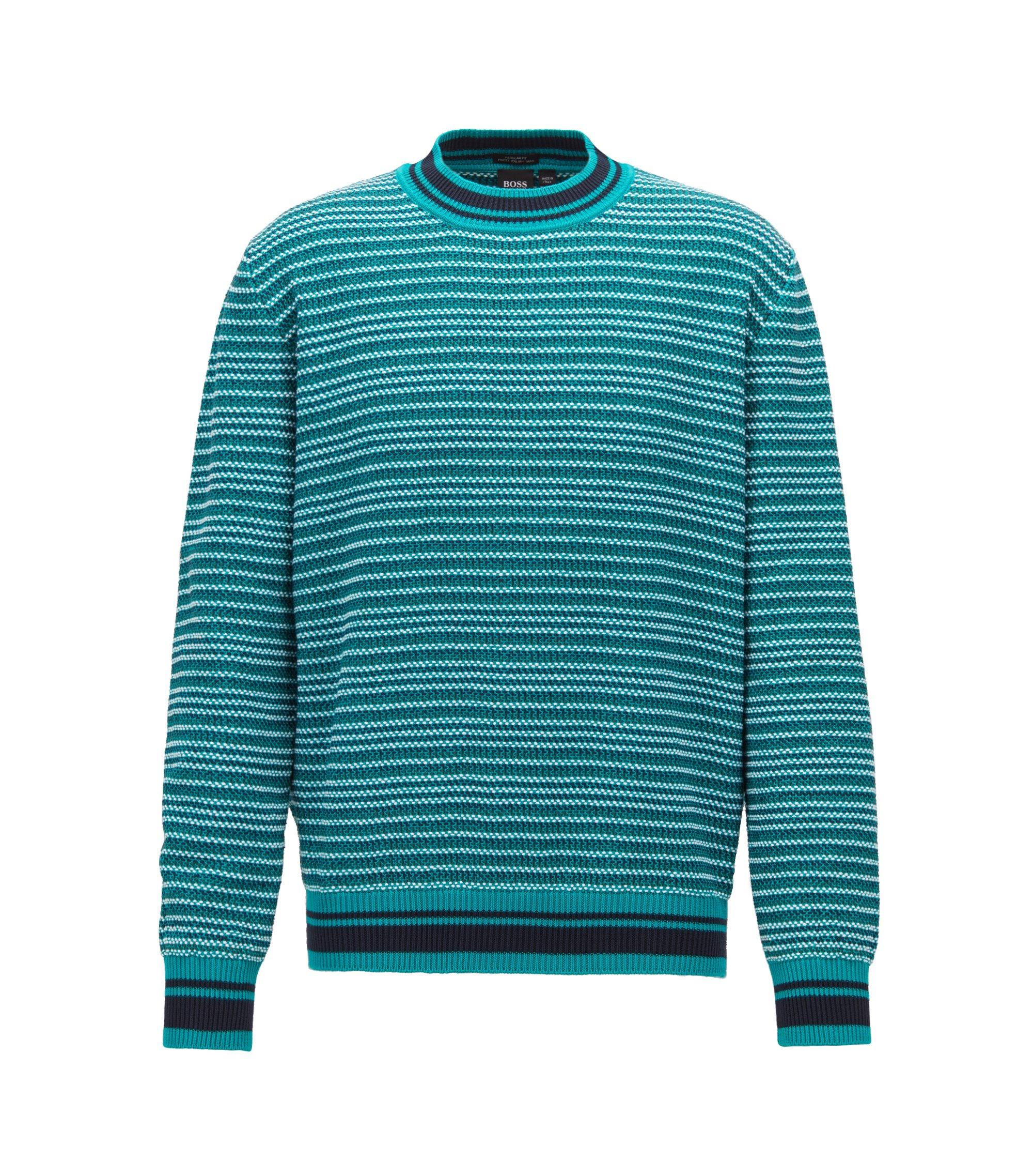Gestreifter Pullover aus strukturiertem Baumwoll-Jacquard, Grün