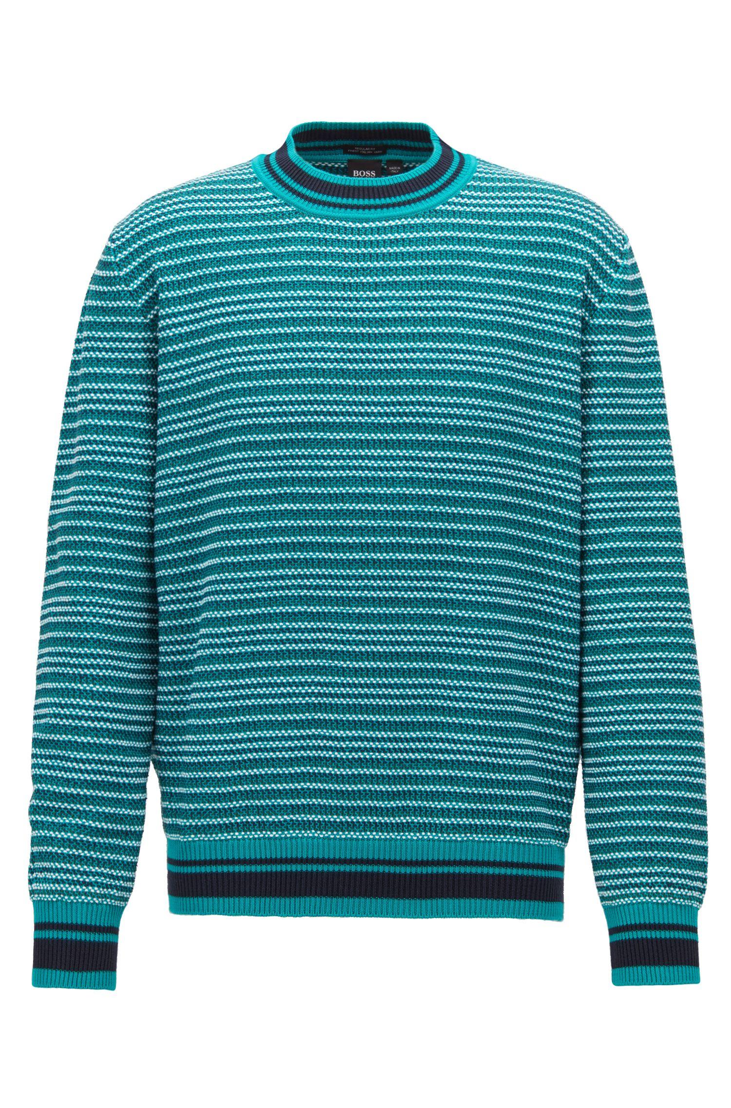 Multi-textured striped sweater in cotton jacquard, Green