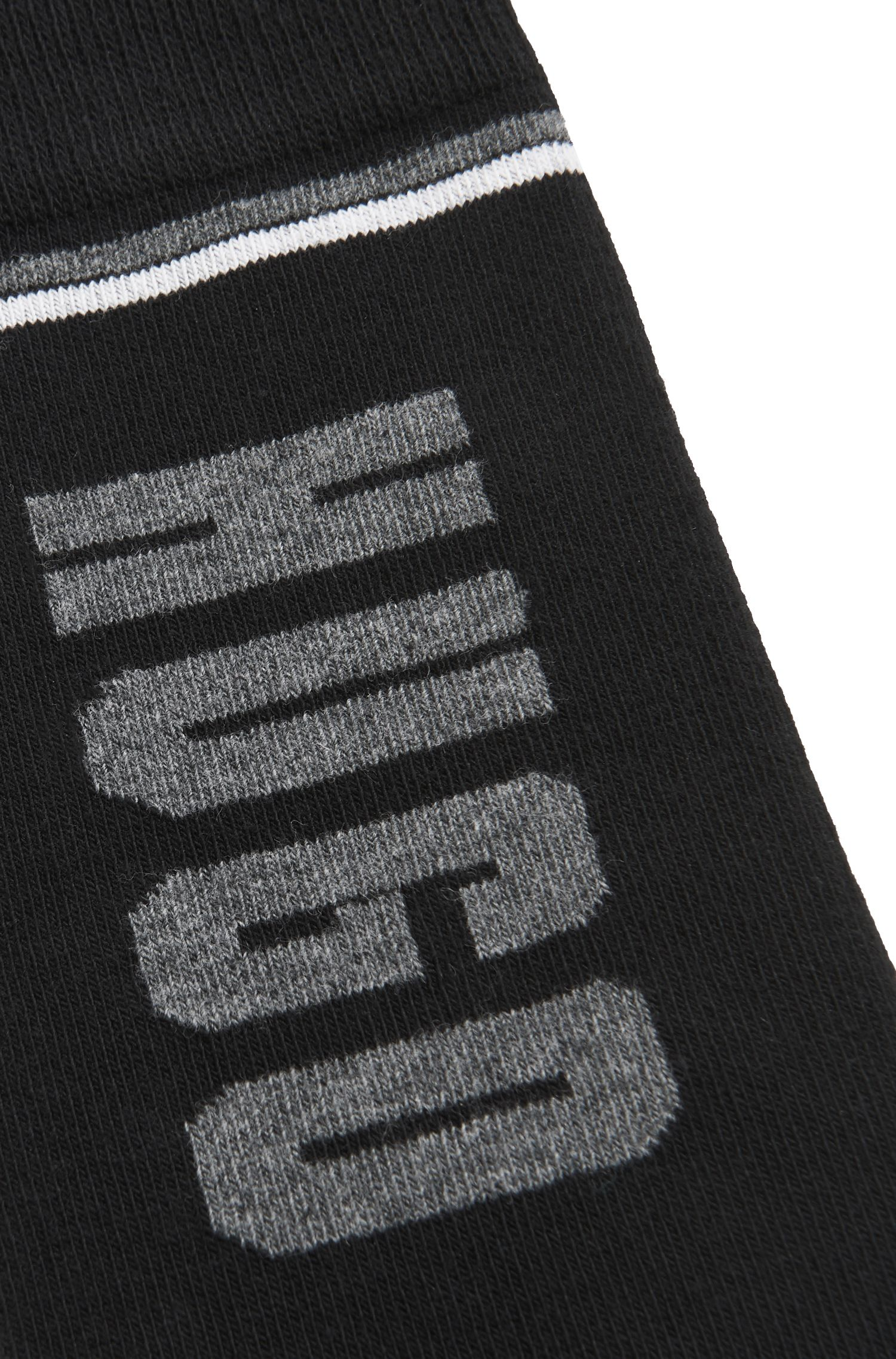 Regular-length socks in a stretch cotton blend, Black