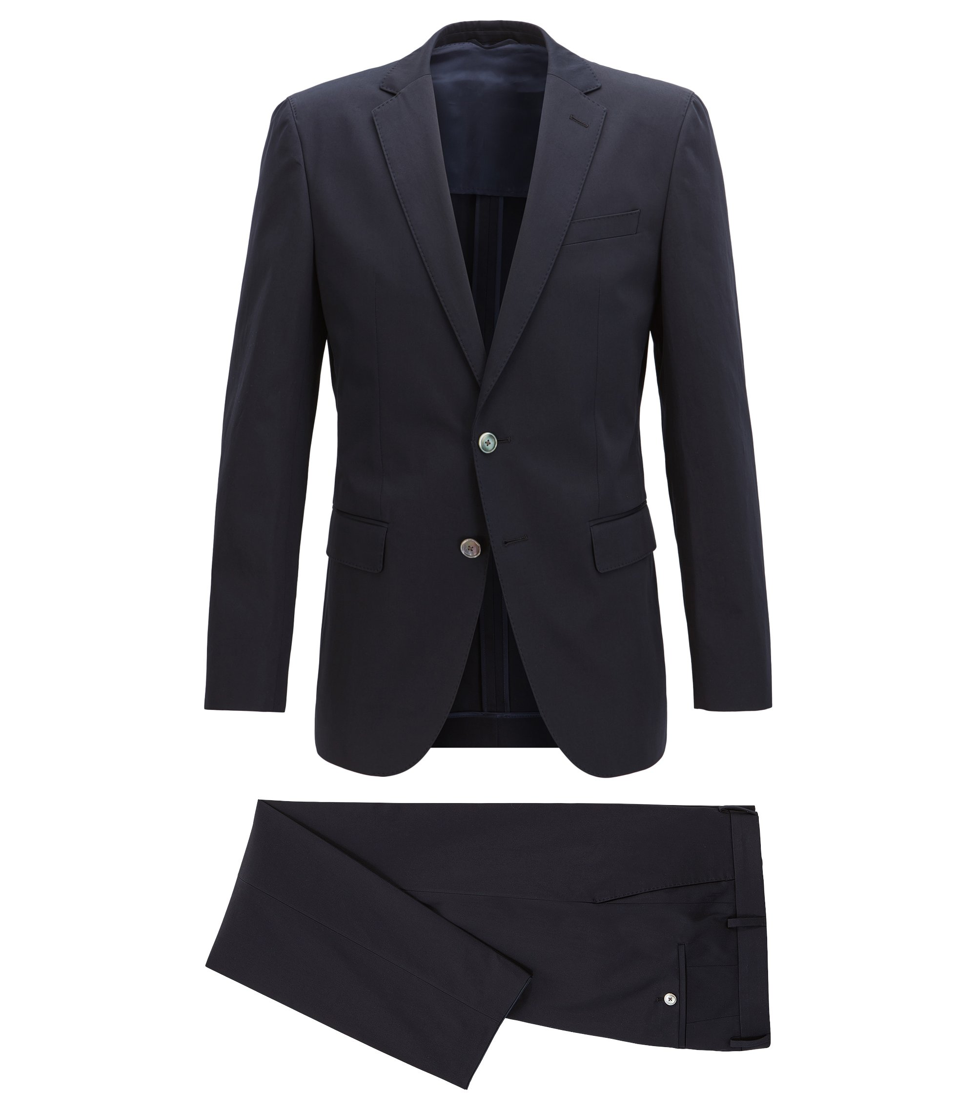 Slim-fit suit in satin-finish stretch cotton, Dark Blue