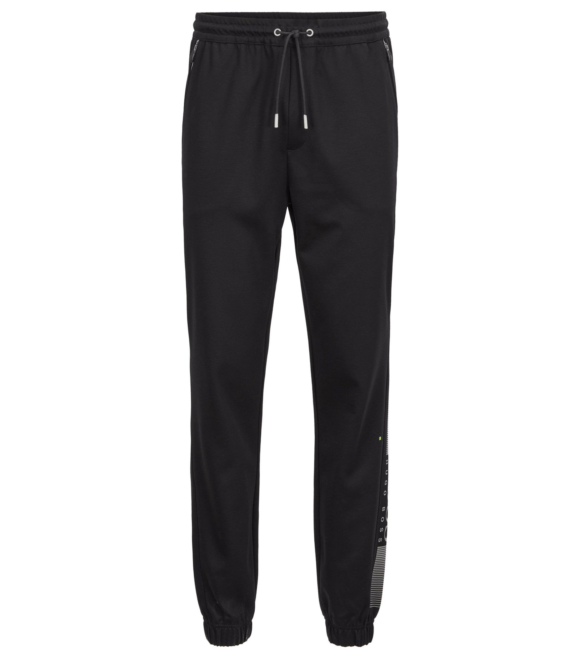 Slim-fit jersey trousers with functional details, Black