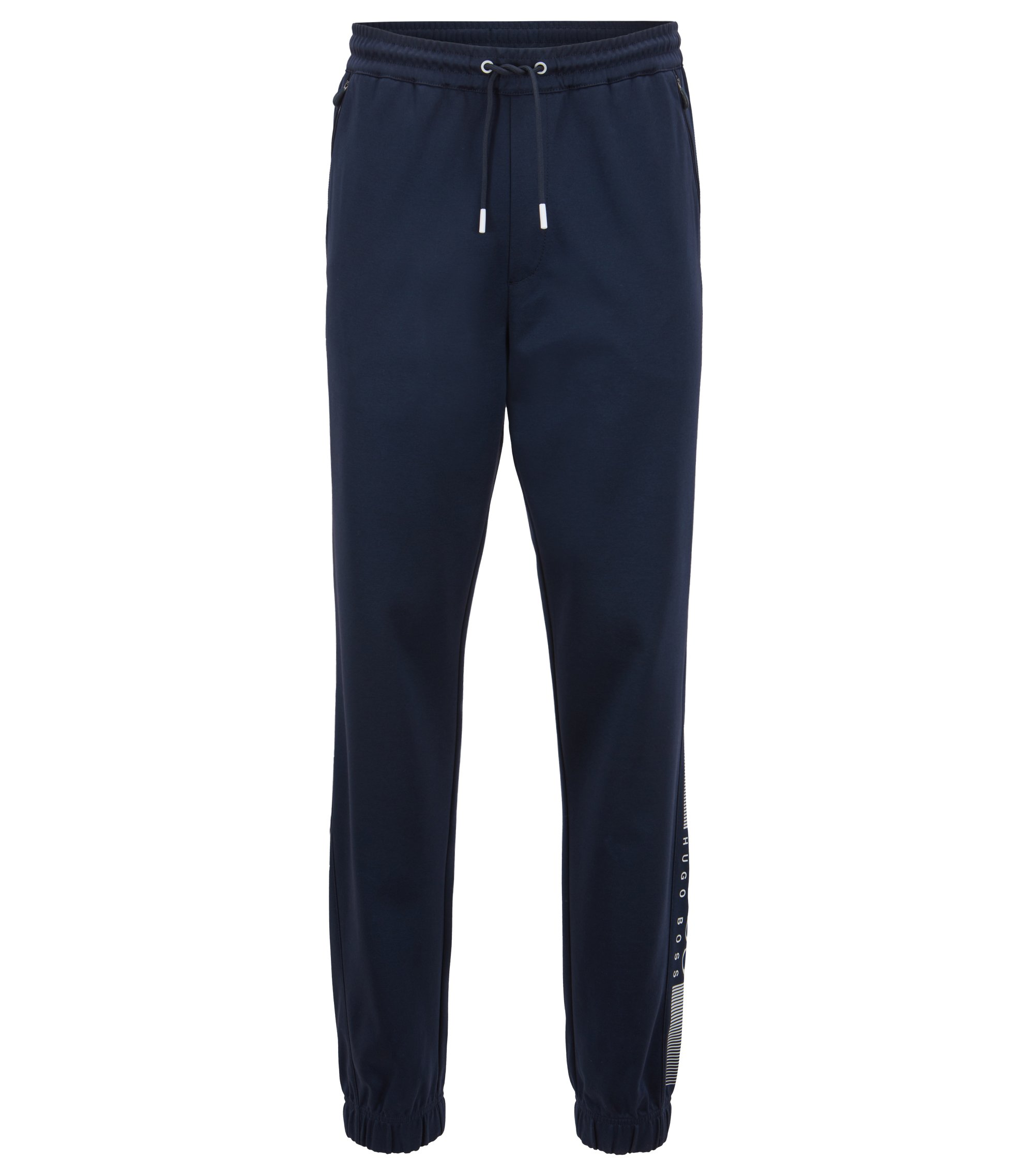 Slim-fit jersey trousers with functional details, Dark Blue