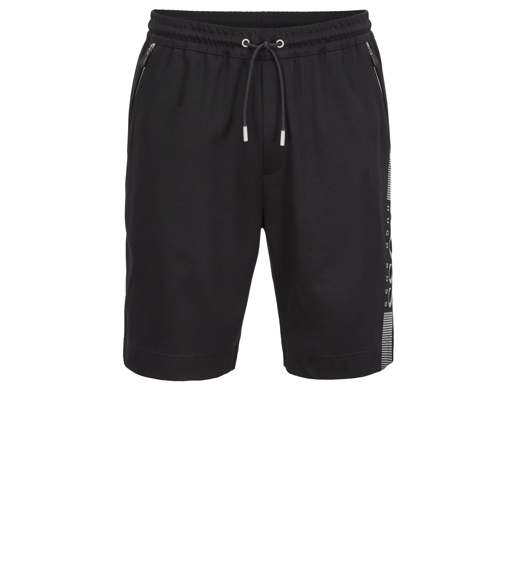 Slim-fit shorts in a moisture-wicking cotton blend, Black