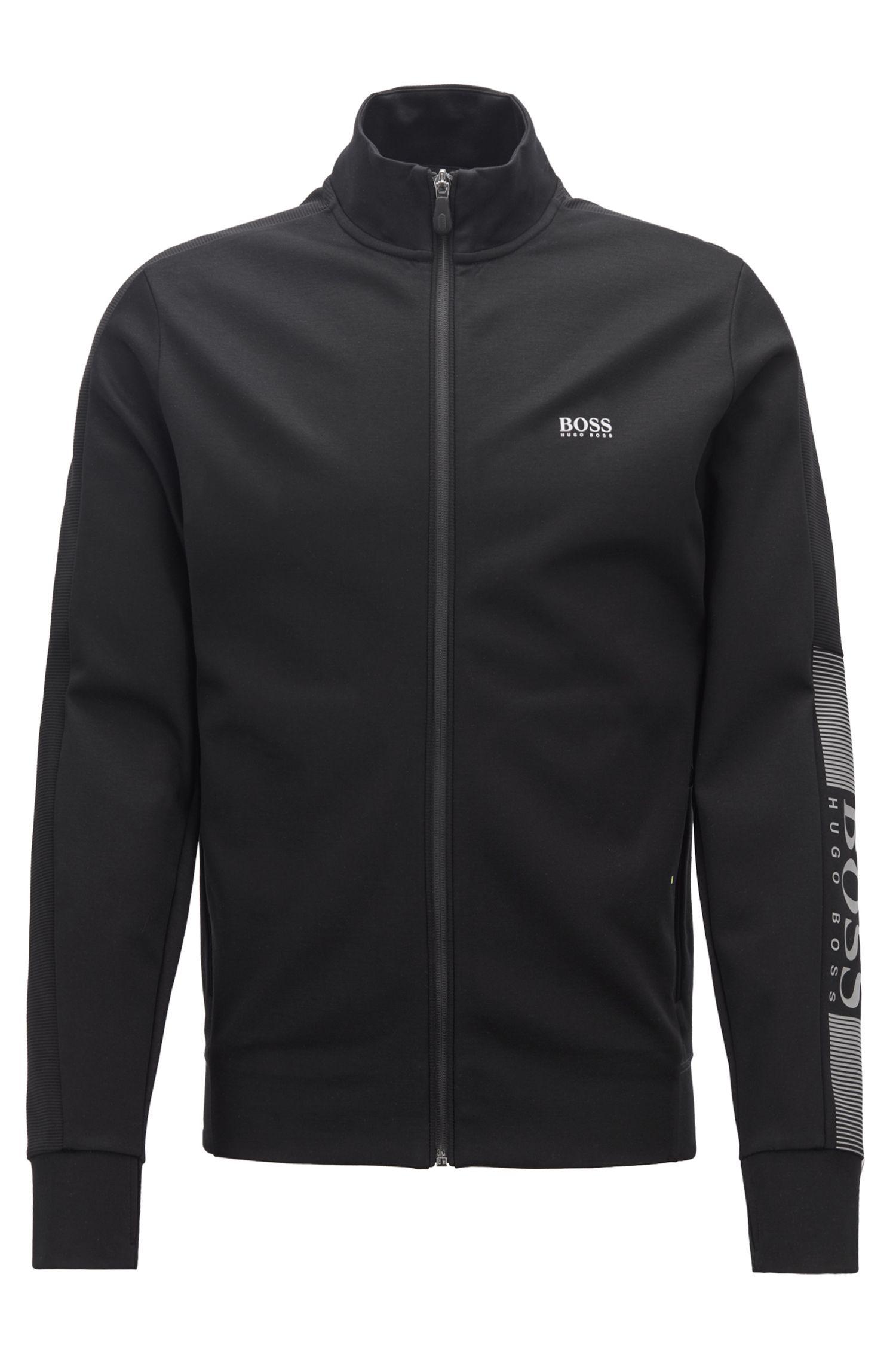 Sweatshirt aus feuchtigkeitsregulierendem Baumwoll-Mix mit Reißverschluss, Schwarz