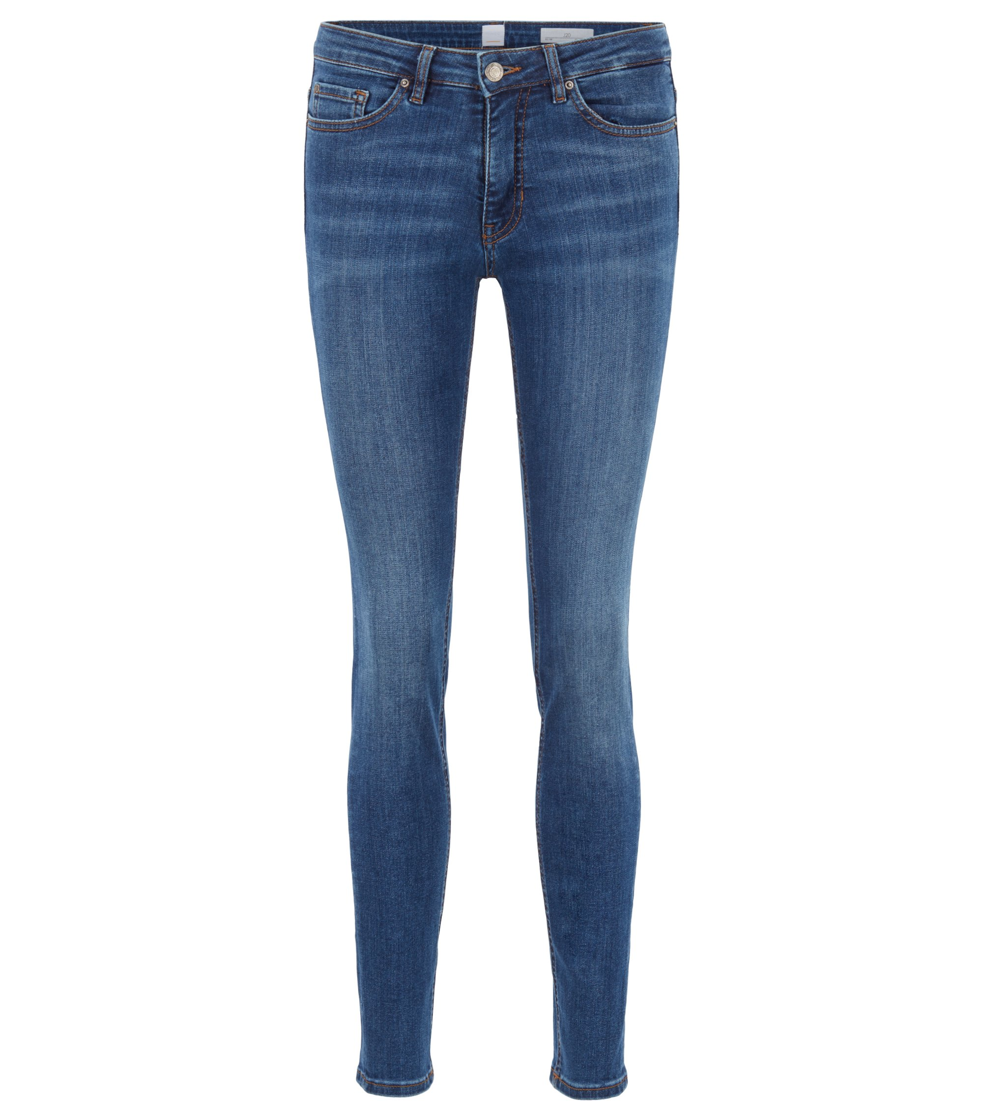 Slim-fit jeans in super-stretch used-effect denim, Dark Blue