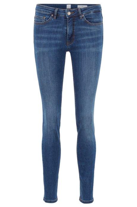 Slim-Fit Jeans aus Super-Stretch-Denim im Used-Look, Dunkelblau
