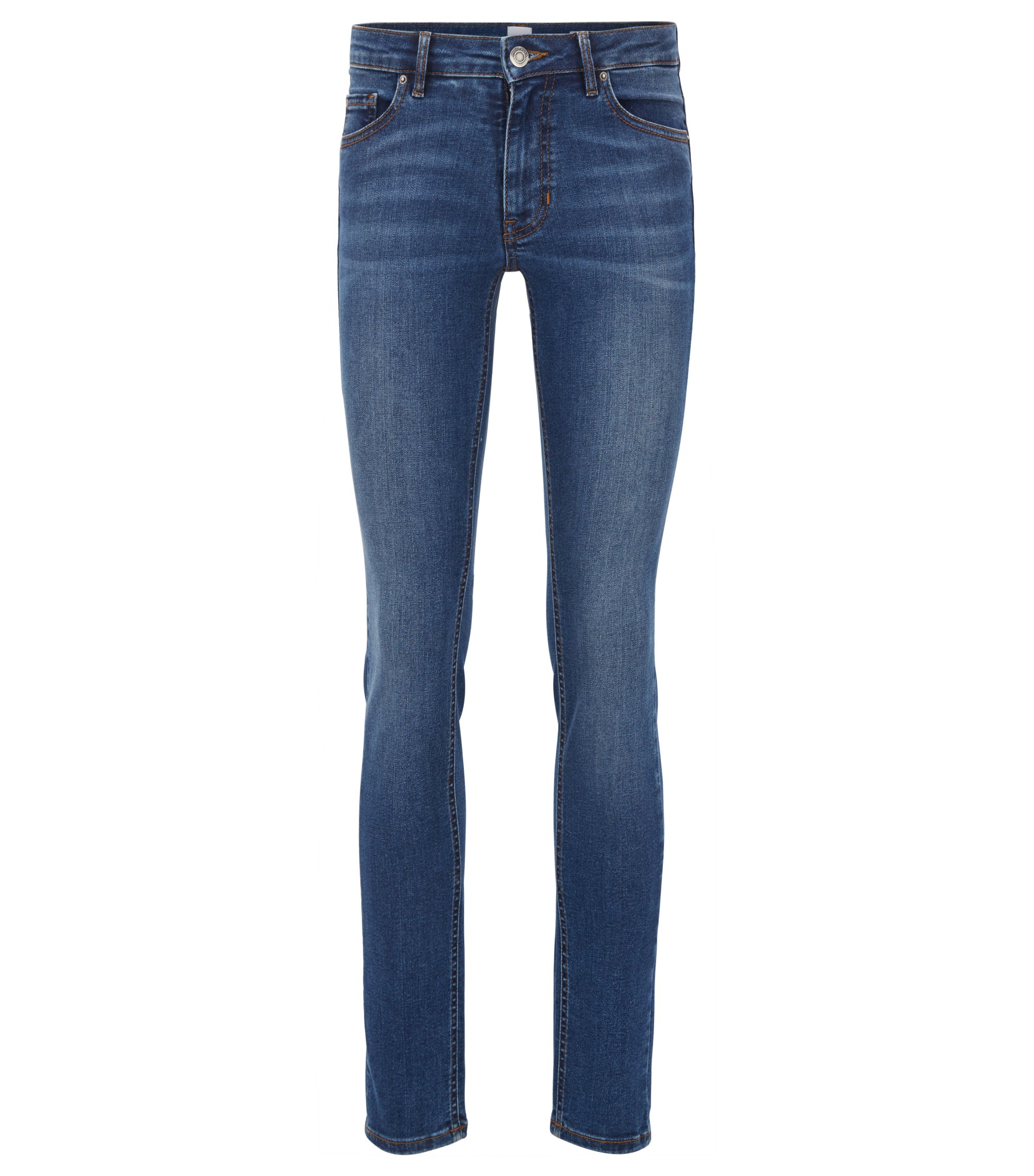 Slim-Fit Jeans aus Super-Stretch-Denim im Used-Look, Dunkelblau