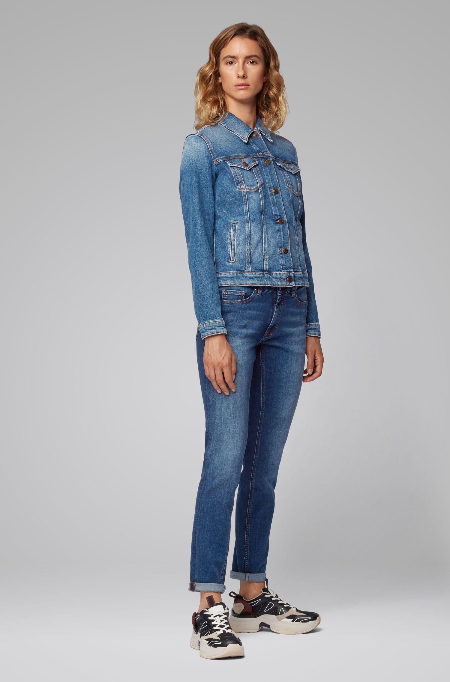 Slim-fit jeans van super-stretchdenim met used-effecten, Donkerblauw