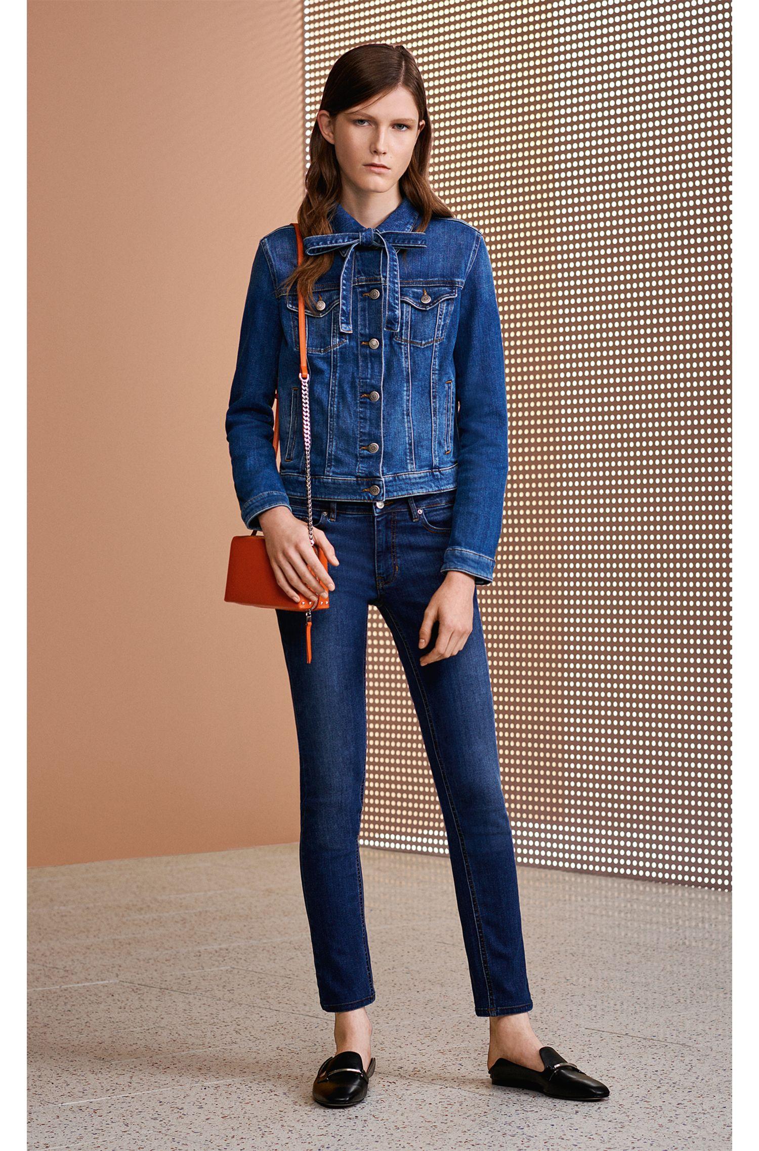 Slim-fit jeans in super-stretch used-effect denim, Dark Blue