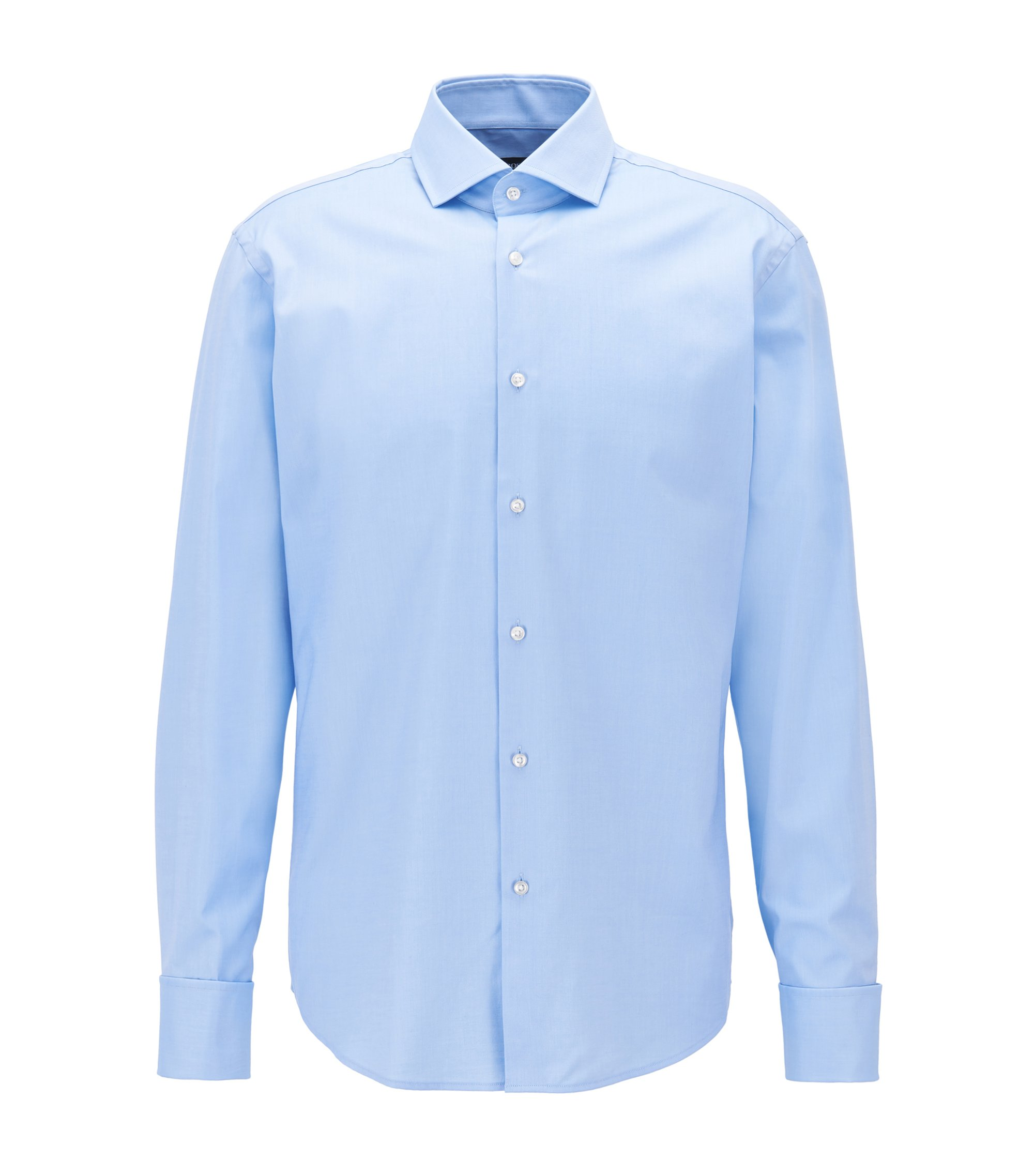 Cotton-twill shirt in a regular fit, Light Blue