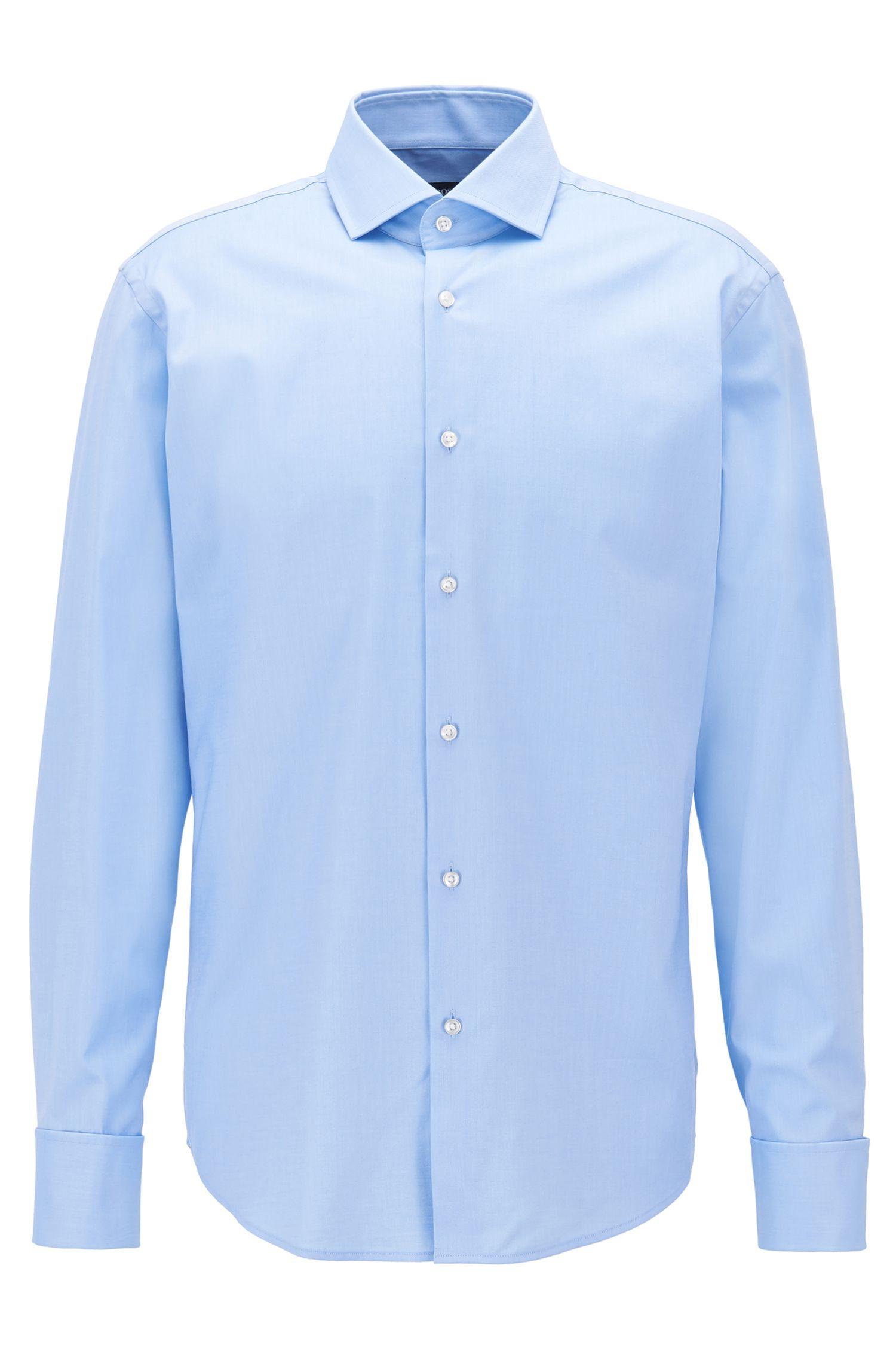 Regular-fit overhemd van katoenen keperstof